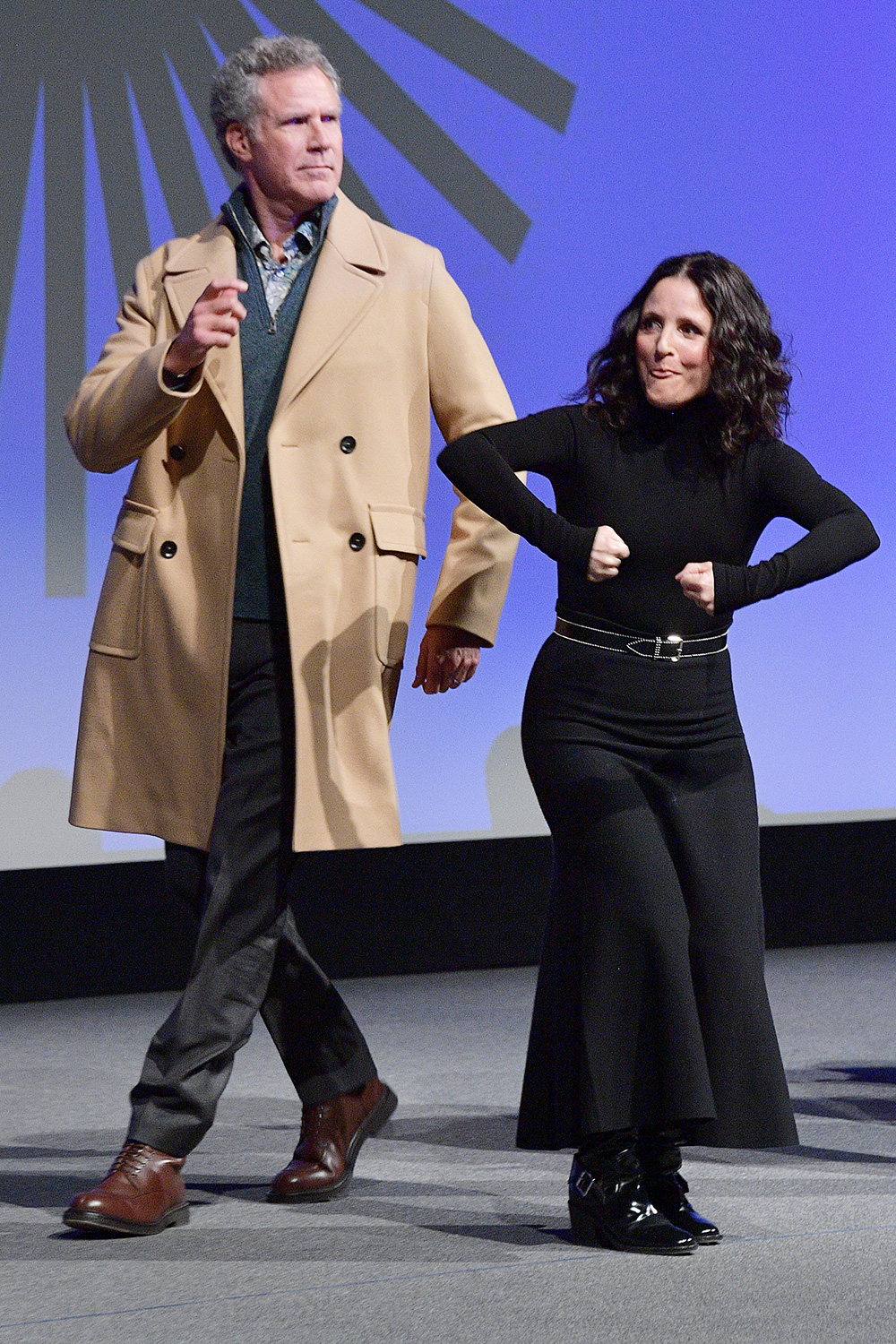 """Will Ferrell (L) and Julia Louis-Dreyfus onstage during the 2020 Sundance Film Festival - """"Downhill"""" Premiere at Eccles Center Theatre on January 26, 2020 in Park City, Utah"""