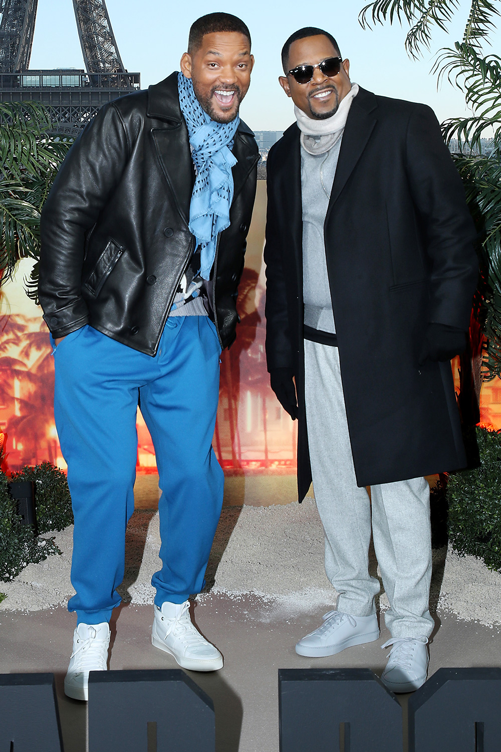 """Will Smith and Martin Lawrence attend the """"Bad Boys for Life"""" Photocall at Terrasse du Cafe de l'Homme on January 06, 2020 in Paris, France"""