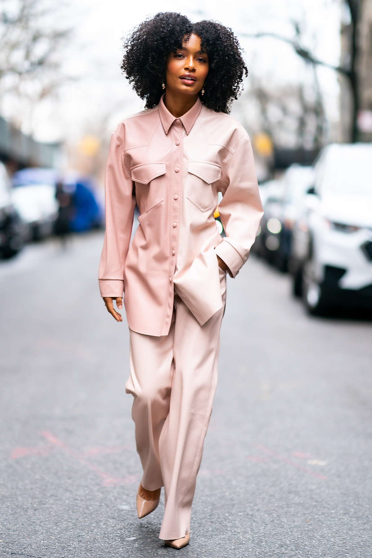 Yara Shahidi is seen wearing Nanushka with Brian Atwood shoes in the Upper West SIde on January 14, 2020