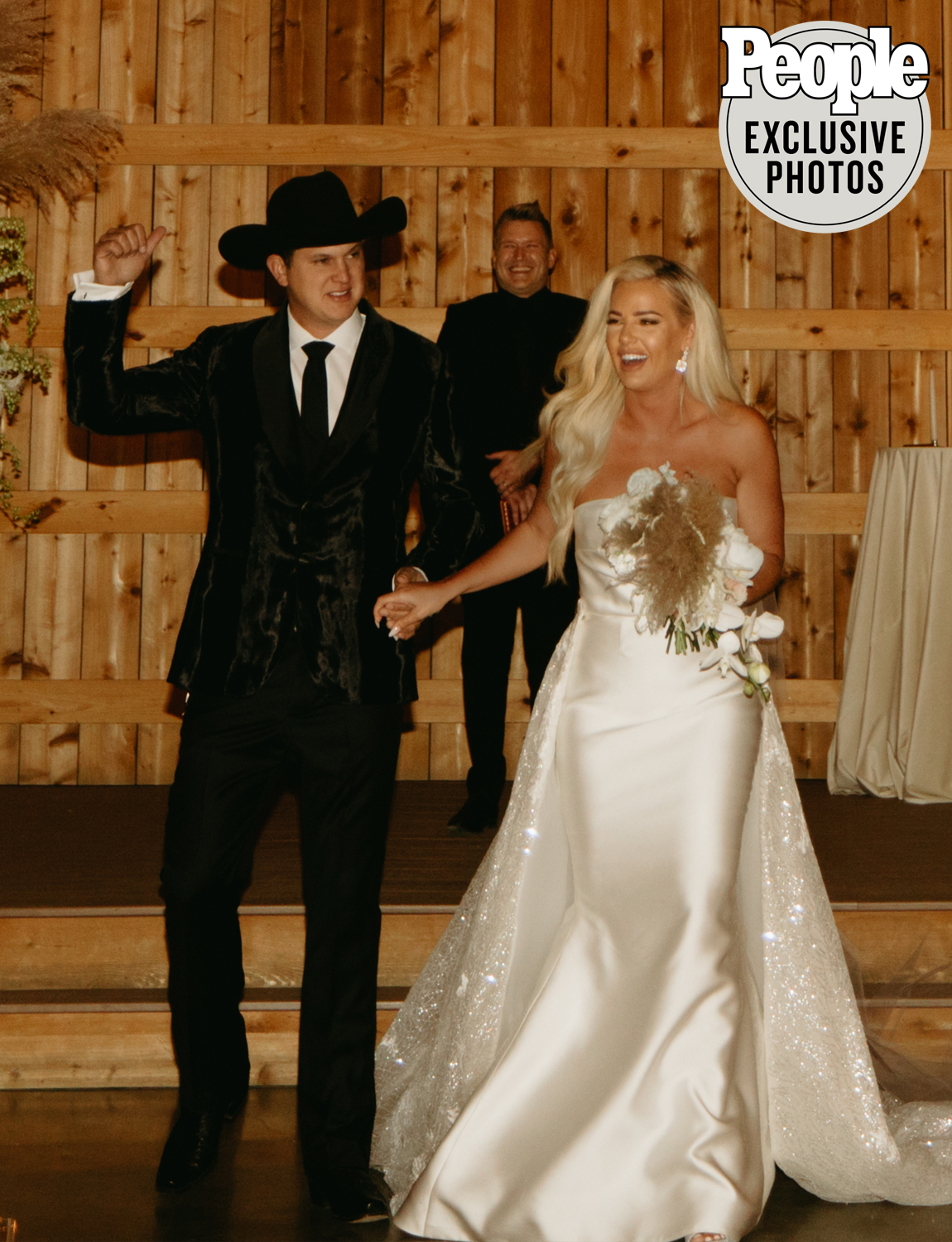 """The """"Ain't Always the Cowboy"""" singer, 35, and the hairstylist, 31, said """"I do"""" at Saddle Woods Farm in Murfreesboro, Tennessee, on Nov. 21, after canceling their plans for a Memorial Day weekend destination wedding due to the ongoing coronavirus pandemic.                             """"With so much of our families being in California we had to make the tough decision to downsize (drastically) twice, and we ended up with a small group of just our immediate family and closest friends in town,"""" Duncan, who worked with Habitat Events to plan the local wedding, said. """"We hope to eventually have a 'wedding tour' as Jon calls it and celebrate with all our family and friends in California, Nashville and Texas.""""                             The couple took a number of precautions amid the ongoing pandemic, including having all of their guests tested prior to the wedding. They also traded the original buffet for a sit-down dinner at spaced-apart tables and had sanitation stations and custom """"Parditime"""" masks available for guests. The majority of the ceremony and reception took place in a flex indoor/outdoor space with heaters."""