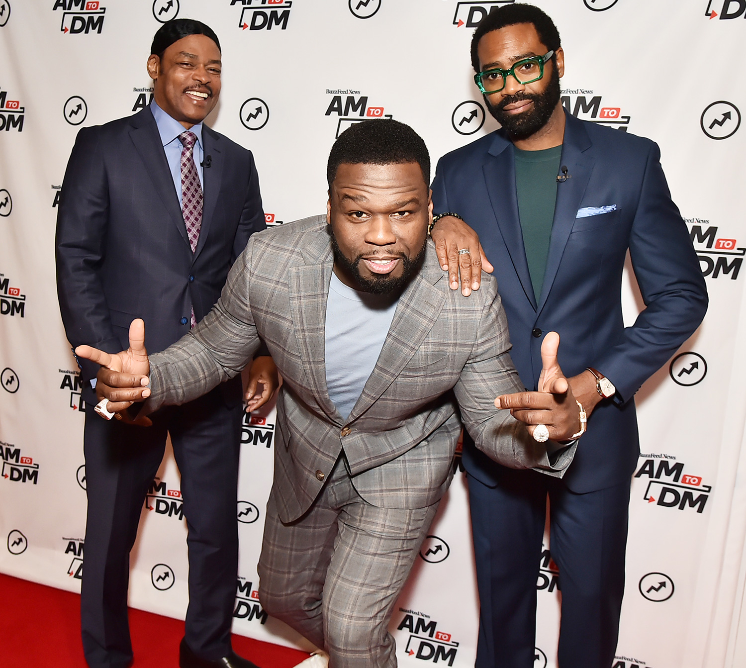 "Isaac Wright Jr, Curtis ""50 Cent"" Jackson and Nicholas Pinnock visit BuzzFeed's ""AM To DM"" on February 11, 2020 in New York City"