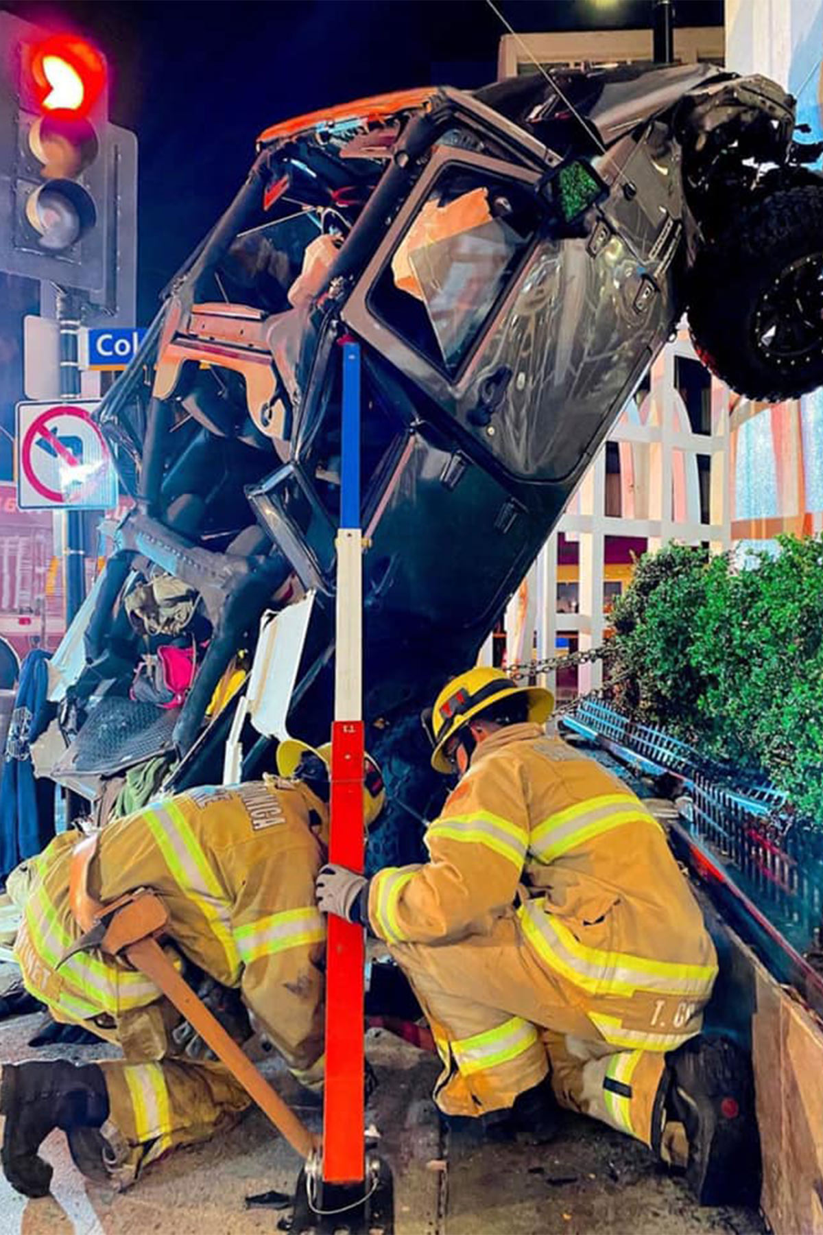 Traffic Collision into building with Physical Rescue