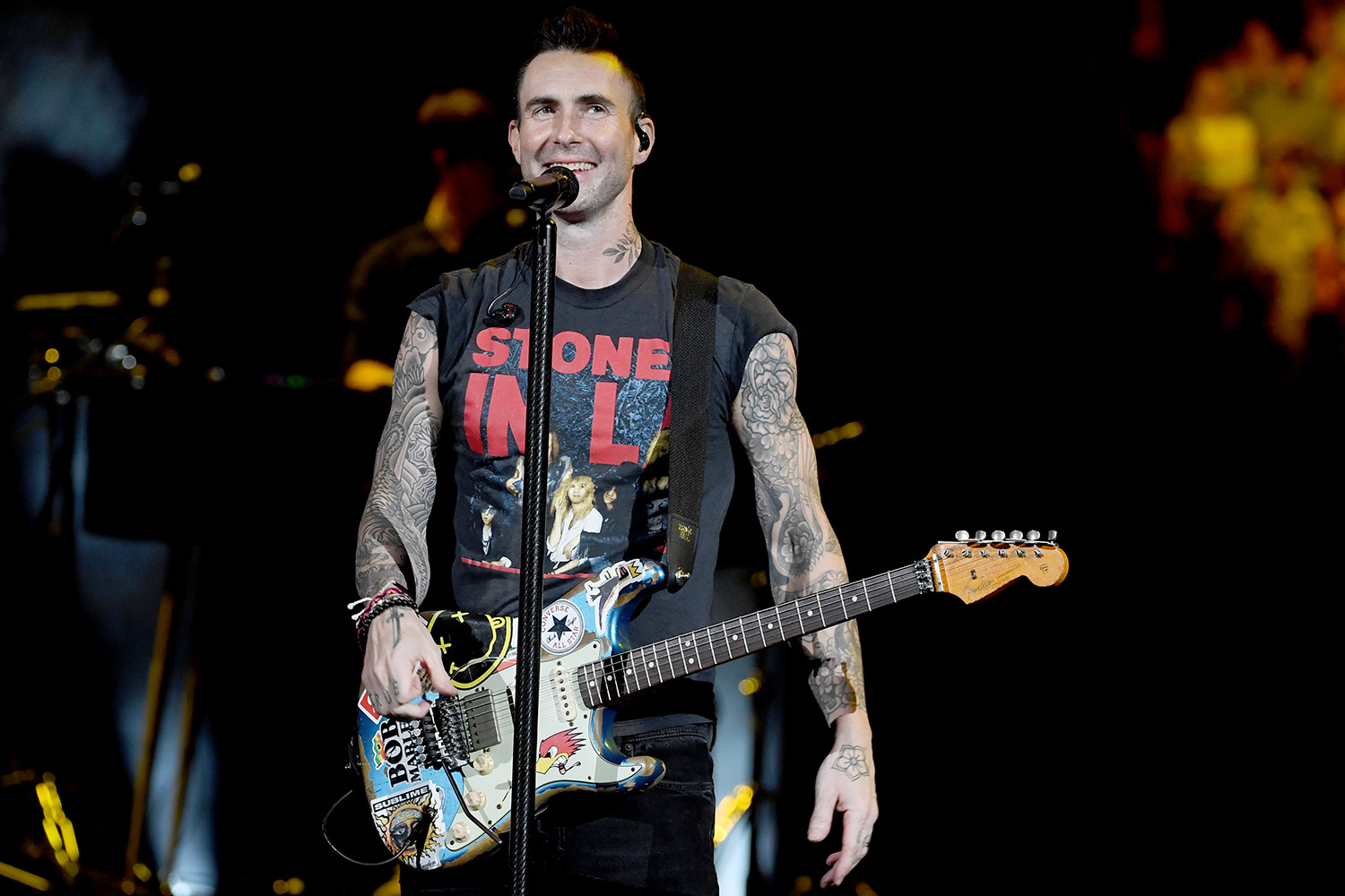 Adam Levine with Maroon 5 performs onstage during the Bud Light Super Bowl Music Fest on February 01, 2020 in Miami, Florida