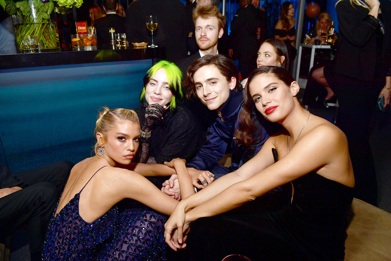 Stella Maxwell, Billie Eilish, Finneas O'Connell, Timothée Chalamet, and Sara Sampaio attend the 2020 Vanity Fair Oscar Party hosted by Radhika Jones at Wallis Annenberg Center for the Performing Arts on February 09, 2020 in Beverly Hills, California