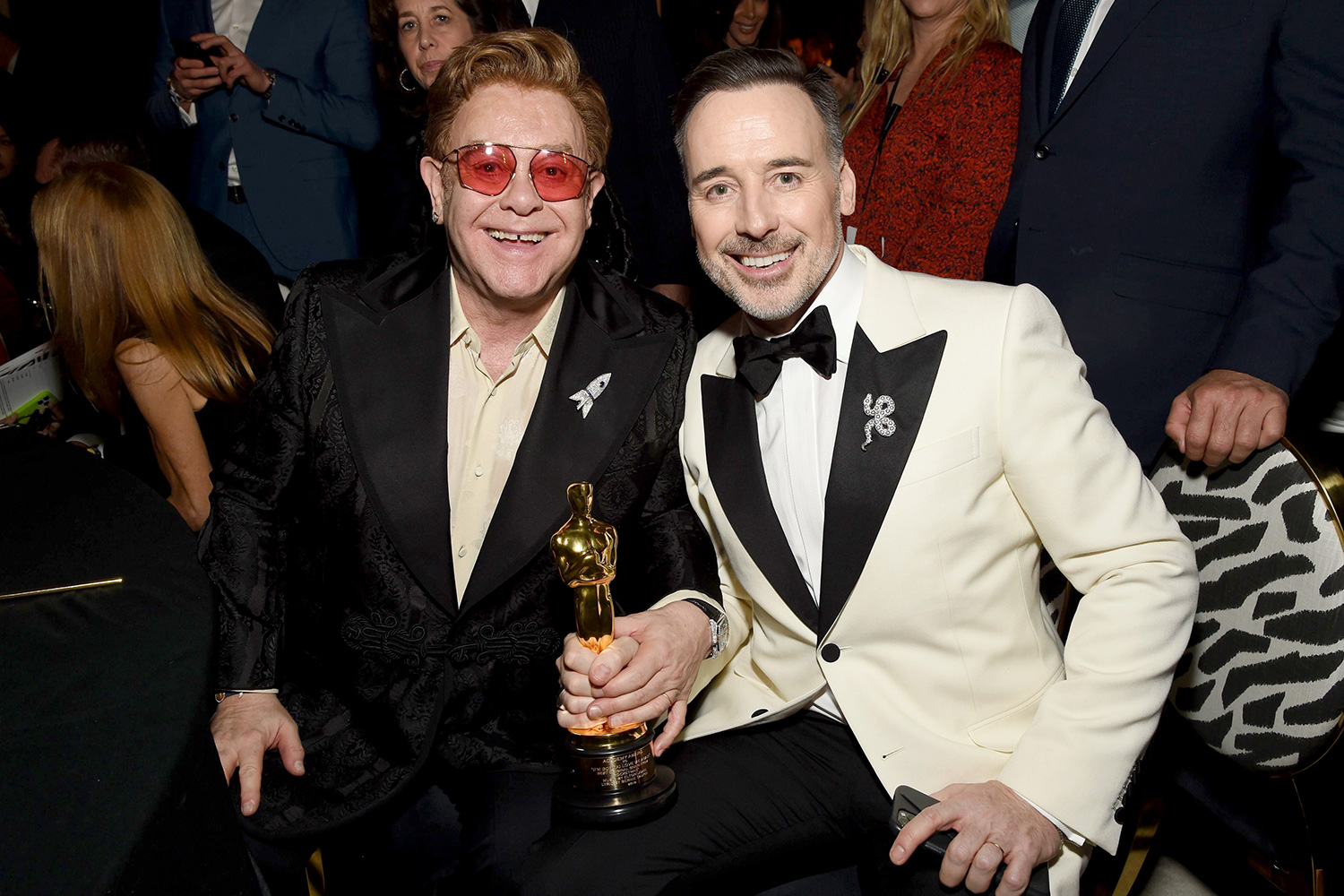 Elton John and David Furnish attend the 28th Annual Elton John AIDS Foundation Academy Awards Viewing Party sponsored by IMDb, Neuro Drinks and Walmart on February 09, 2020 in West Hollywood, California