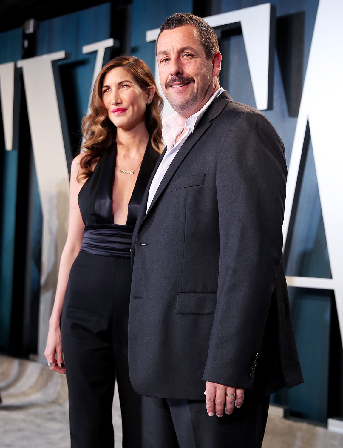 Jackie Sandler and Adam Sandler attend the 2020 Vanity Fair Oscar Party hosted by Radhika Jones at Wallis Annenberg Center for the Performing Arts on February 09, 2020 in Beverly Hills, California