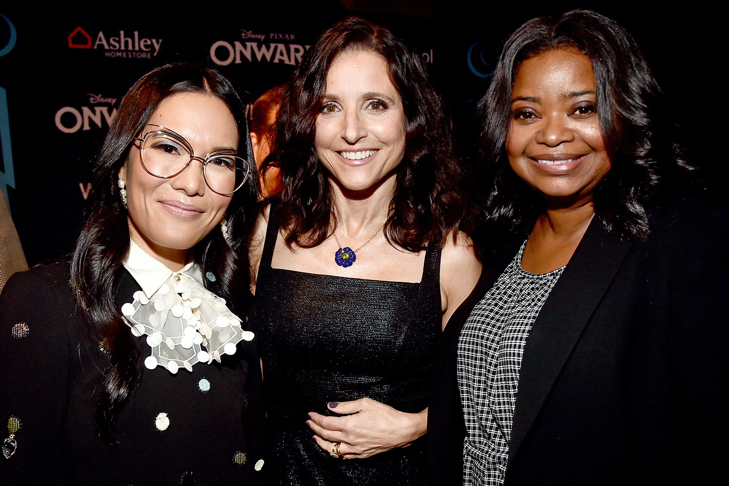 Ali Wong, Julia Louis-Dreyfus, and Octavia Spencer attend the world premiere of Disney and Pixar's ONWARD at the El Capitan Theatre on February 18, 2020 in Hollywood, California