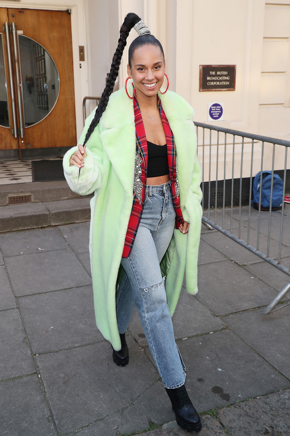 Alicia Keys seen leaving BBC Maida Vale Studios after performing in the Live Lounge on February 06, 2020 in London, England