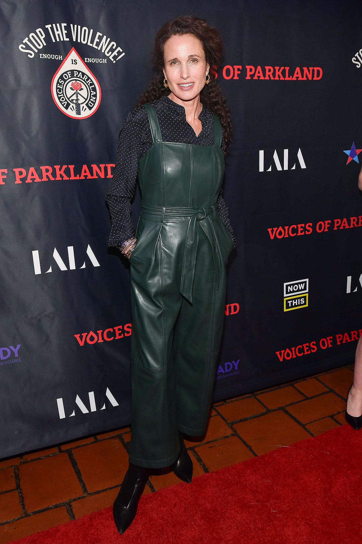 "Andie MacDowell attends the LA Premiere Of ""Voices Of Parkland"" at Theatre at the Ace Hotel on February 12, 2020"
