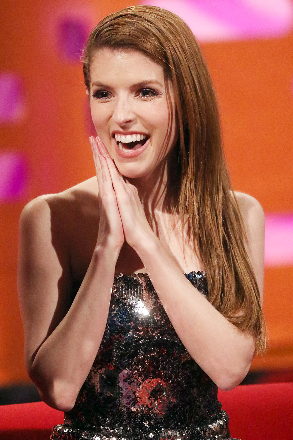 Anna Kendrick during the filming for the Graham Norton Show at BBC Studioworks 6 Television Centre, Wood Lane, London, to be aired on BBC One on Friday evening