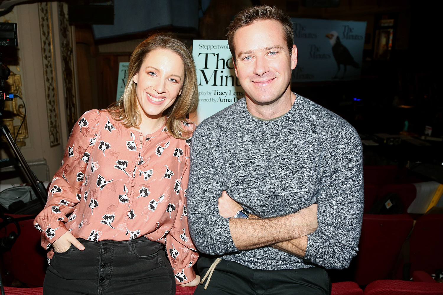 """Jessie Mueller and Armie Hammer pose at a press day/photo call for the new Tracy Letts Play """"The Minutes"""" on Broadway at The Cort Theatre on February 20, 2020 in New York City"""