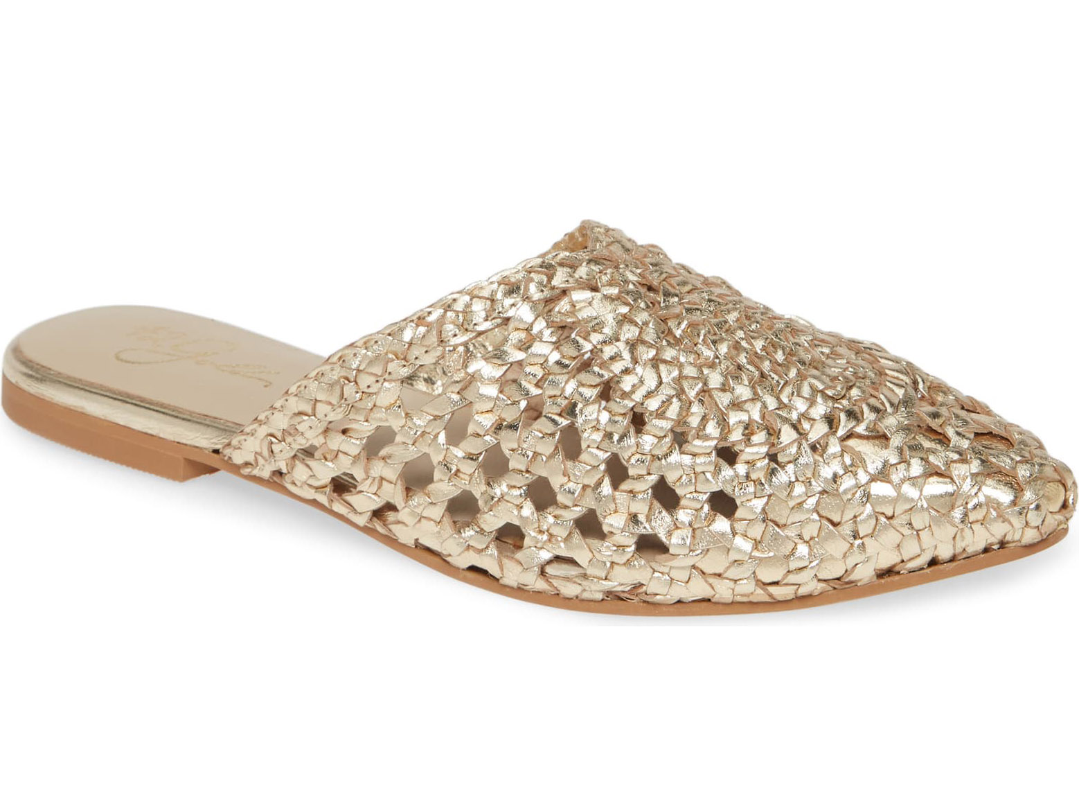 42 Gold Charmed Pointed Toe Mule in Gold Leather