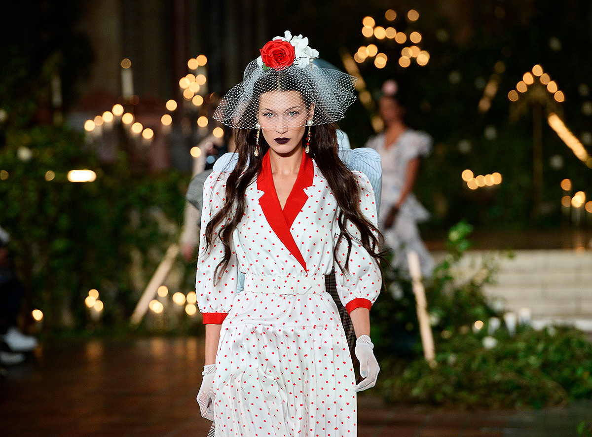 Bella Hadid walks the runway for Rodarte during New York Fashion Week: The Shows at St. Bart's Church on February 11, 2020