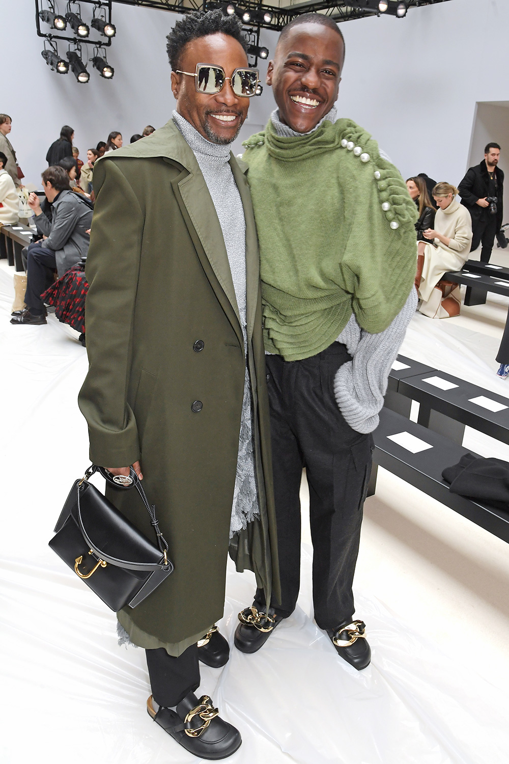 Billy Porter and Ncuti Gatwa attend the JW Anderson show during London Fashion Week February 2020 at Yeomanry House on February 17, 2020 in London, England