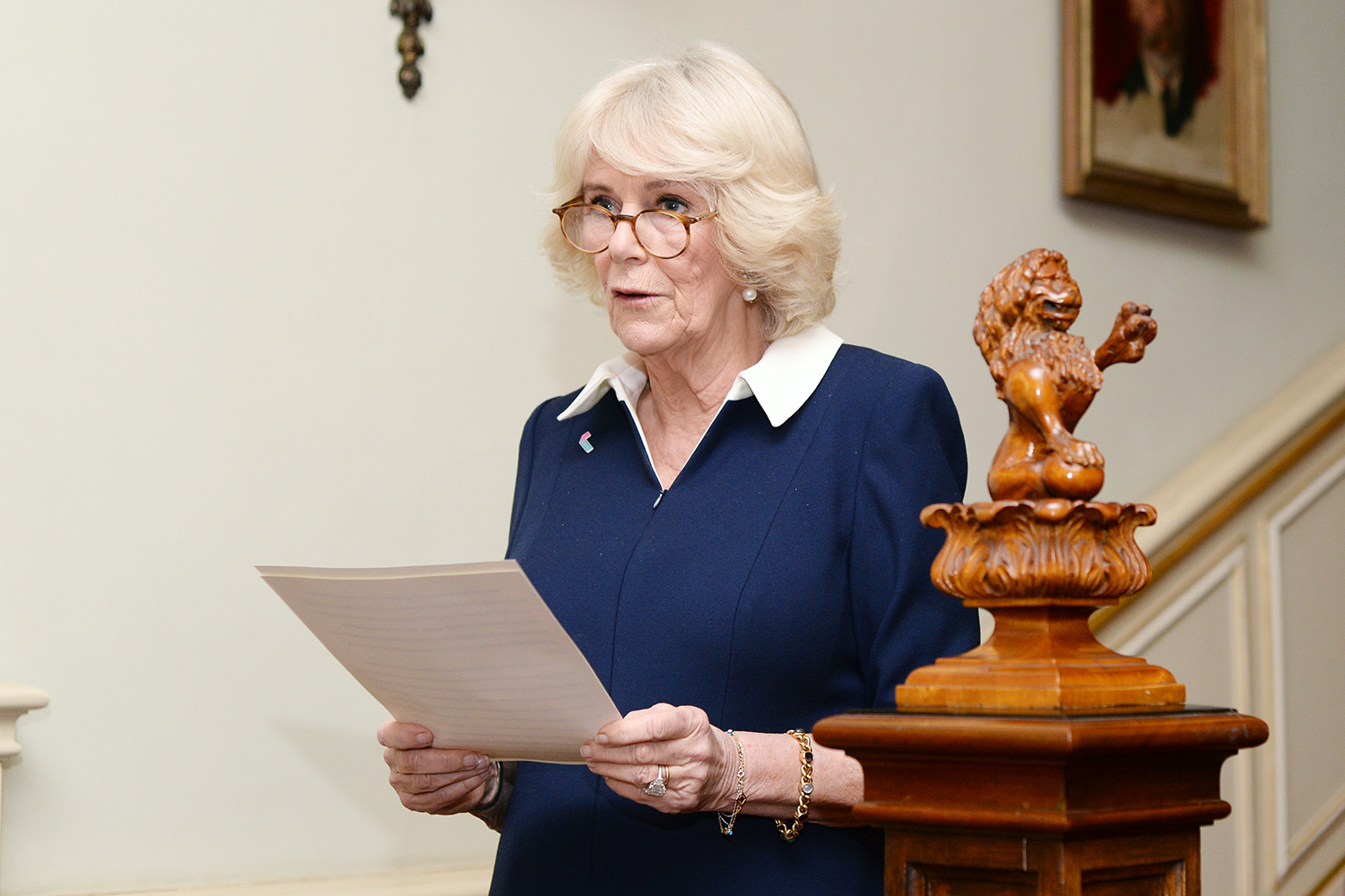 Camilla, Duchess of Cornwall speaks during a reception to acknowledge the 15th anniversary of domestic abuse charity SafeLives at Clarence House on February 12, 2020 in London, England