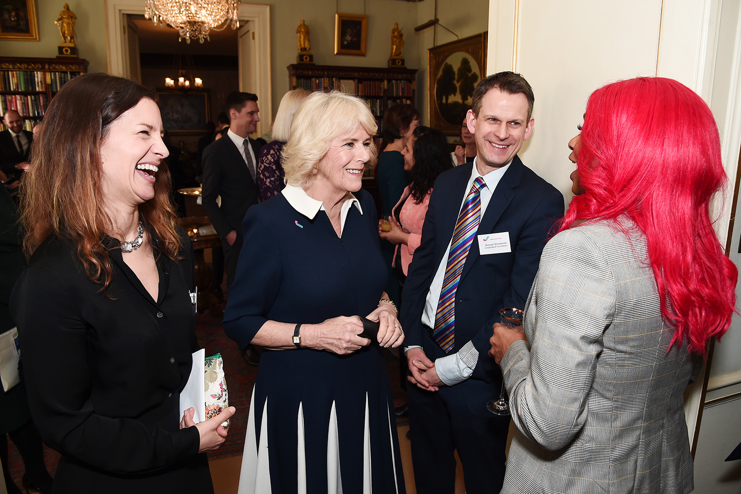 Camilla, Duchess of Cornwall meets CEO of SafeLives Suzanne Jacob (L), Duncan Shrubsole and Jennifer Steele during a reception to acknowledge the 15th anniversary of domestic abuse charity SafeLives at Clarence House on February 12, 2020 in London, England