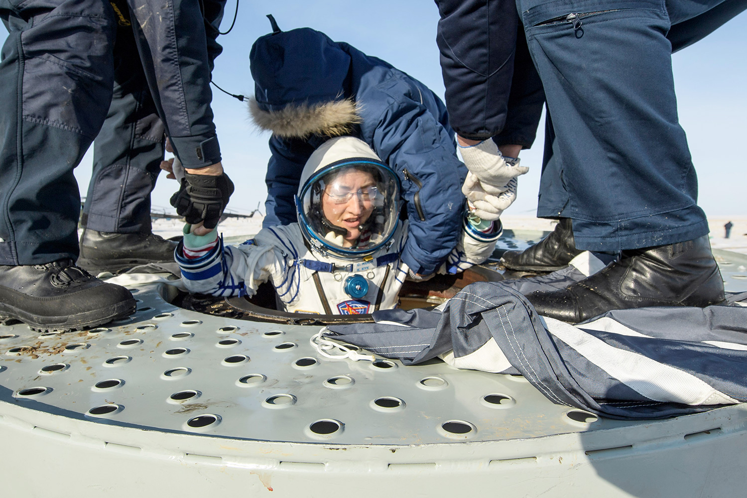 Expedition 61 Soyuz Landing. NASA astronaut Christina Koch is helped out of the Russian Soyuz MS-13 space capsule about 150 km ( 80 miles) south-east of the Kazakh town of Zhezkazgan, Kazakhstan, . The Soyuz space capsule with Koch, Italian astronaut Luca Parmitano and Russian cosmonaut Alexander Skvortsov, returning from a mission to the International Space Station landed safely in Kazakhstan. Koch wrapped up a 328-day mission on her first flight into space, providing researchers the opportunity to observe effects of long-duration spaceflight on a woman as the agency plans to return to the Moon under the Artemis program Russia Space Station, Zhezkazgan, Kazakhstan - 06 Feb 2020