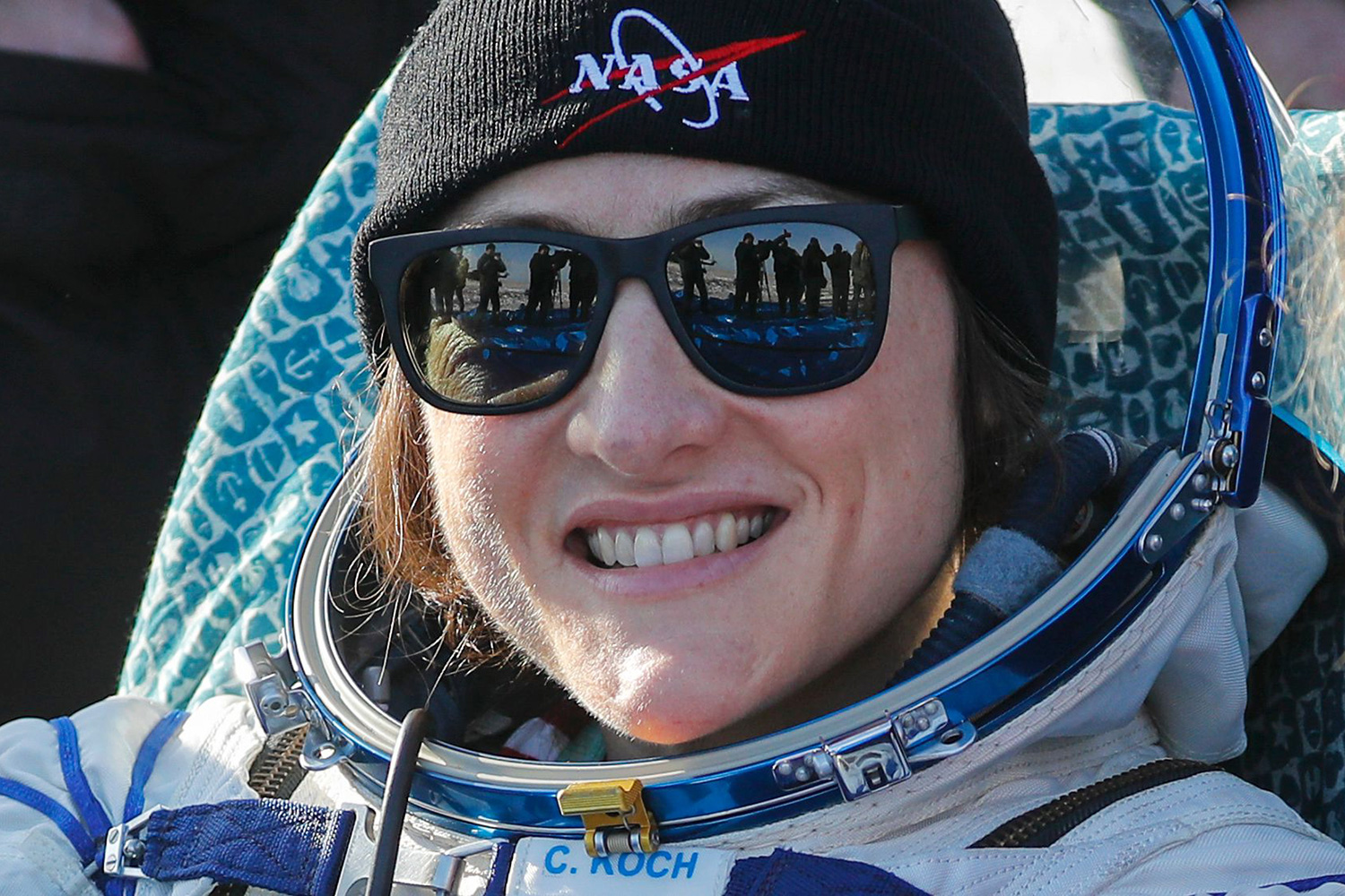 NASA astronaut Christina Koch smiles shortly after Russian Soyuz MS-13 space capsule landing in a remote area southeast of Zhezkazgan in the Karaganda region of Kazakhstan, 06 February 2020