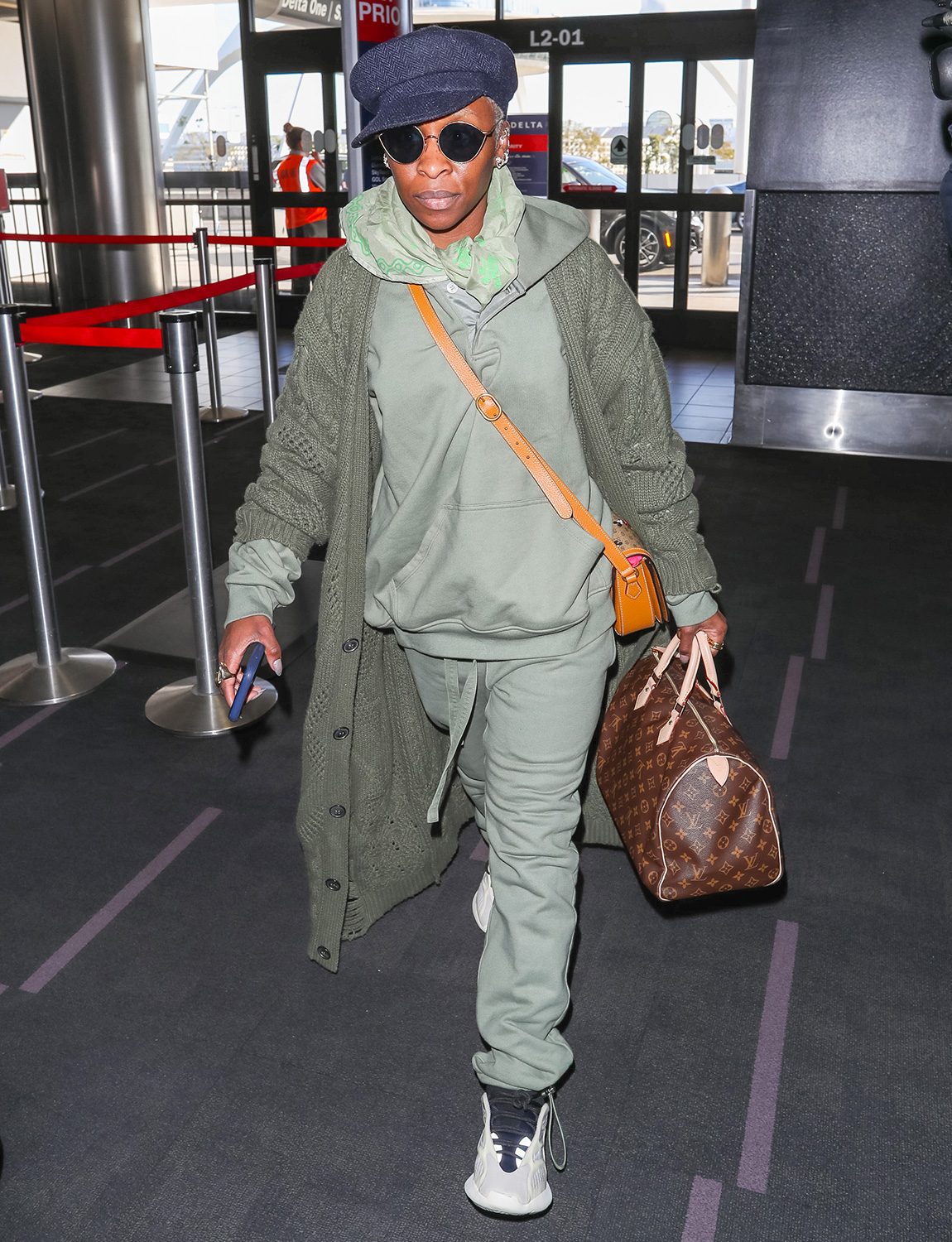 Cynthia Erivo is seen at Los Angeles International Airport on February 10, 2020 in Los Angeles, California