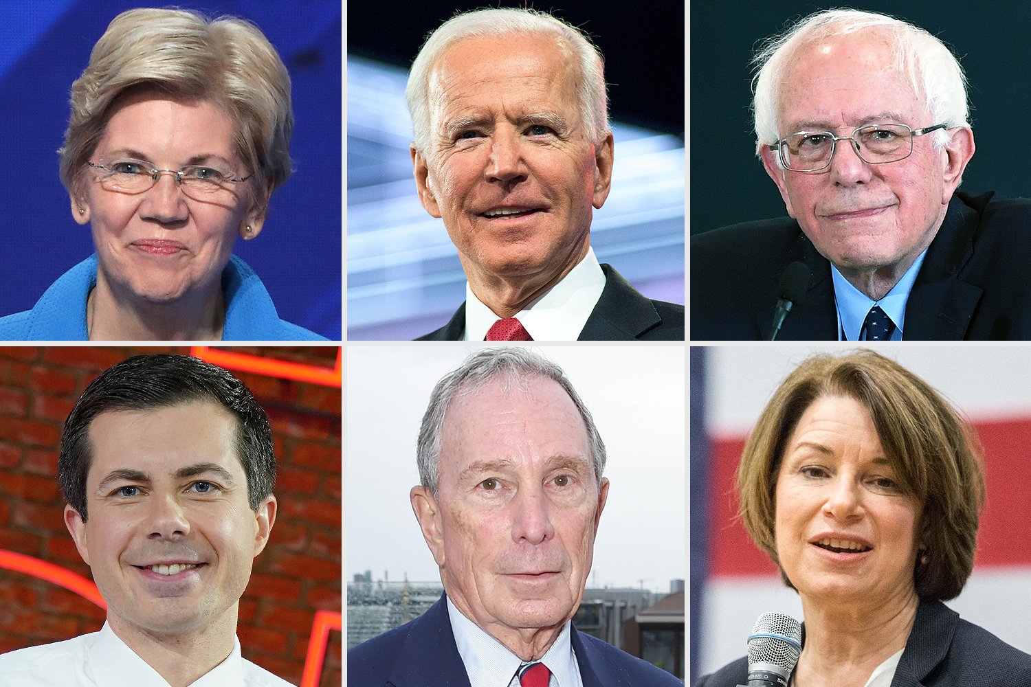 Elizabeth Warren, Joe Biden, Bernie Sanders, Pete Buttigieg, Mike Bloomberg, Amy Klobuchar