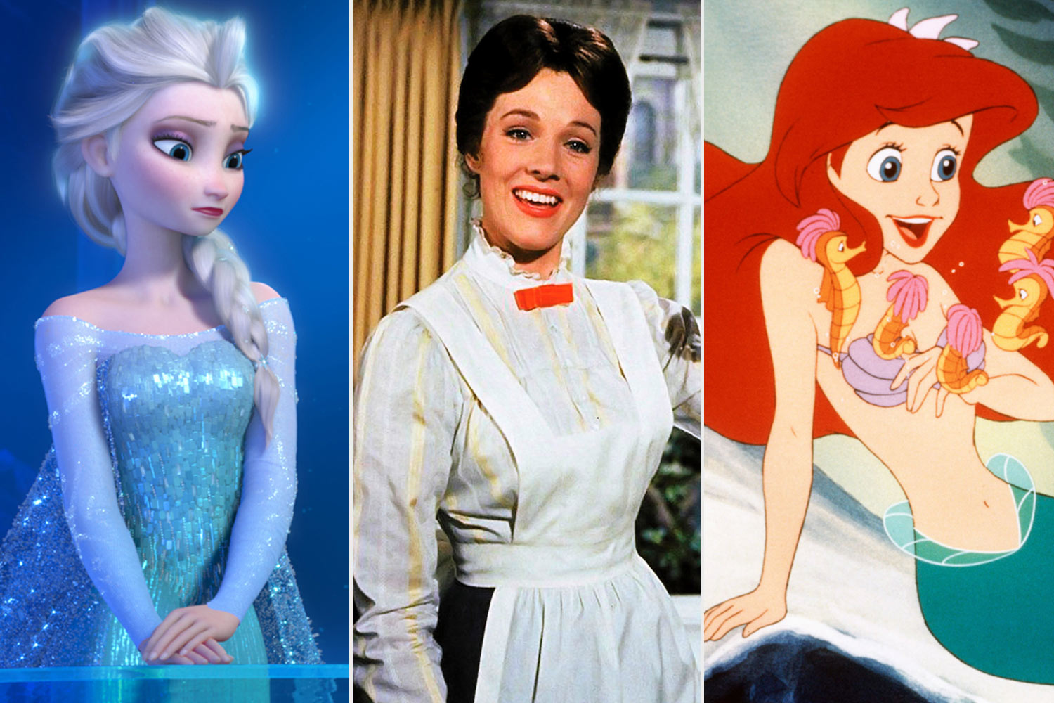 Frozen, Mary Poppins, and The Little Mermaid