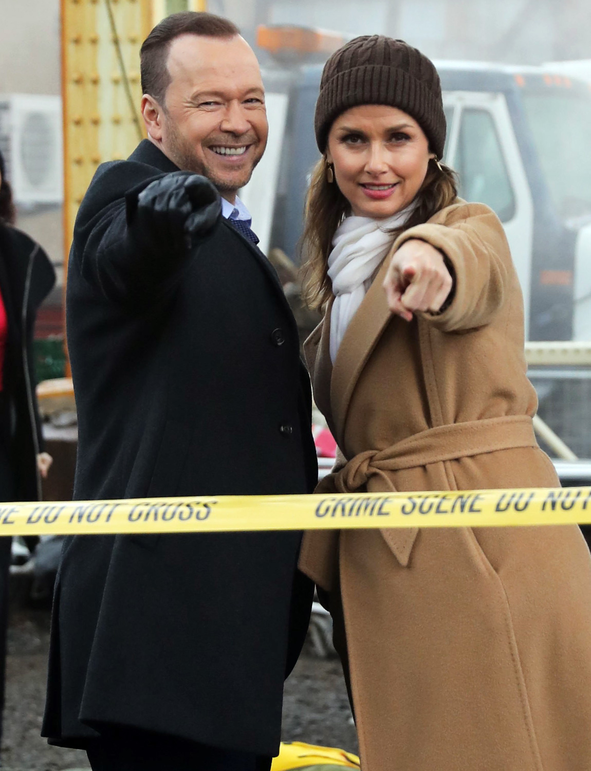 Donnie Wahlberg and Bridget Moynahan are seen on the set of 'Blue Bloods' on February 26, 2020 in New York City