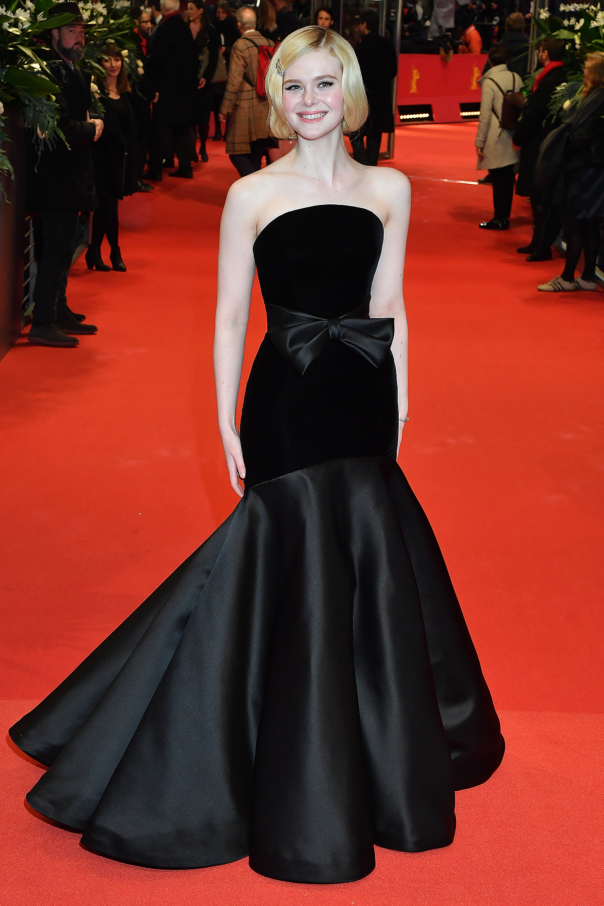 """Elle Fanning poses at the """"The Roads Not Taken"""" premiere during the 70th Berlinale International Film Festival Berlin at Berlinale Palace on February 26, 2020"""