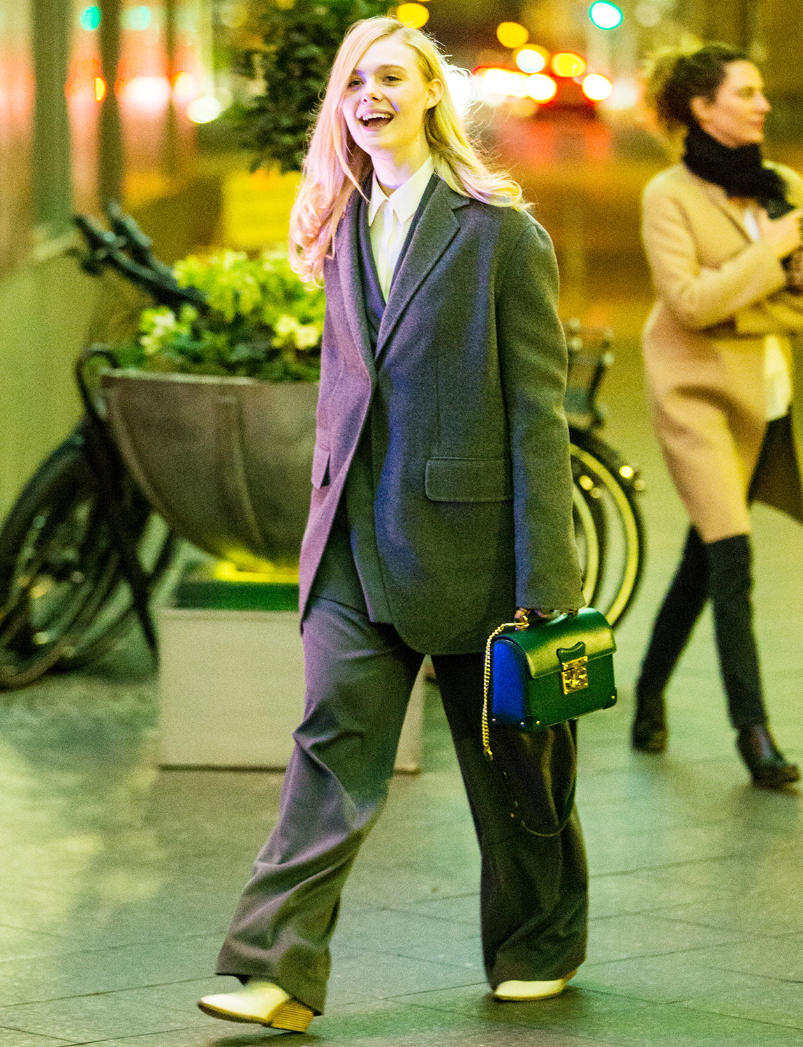 Elle Fanning takes a late night walk while in town for the 70th Berlin International Film Festival Berlinale in Berlin-Mitte, Germany