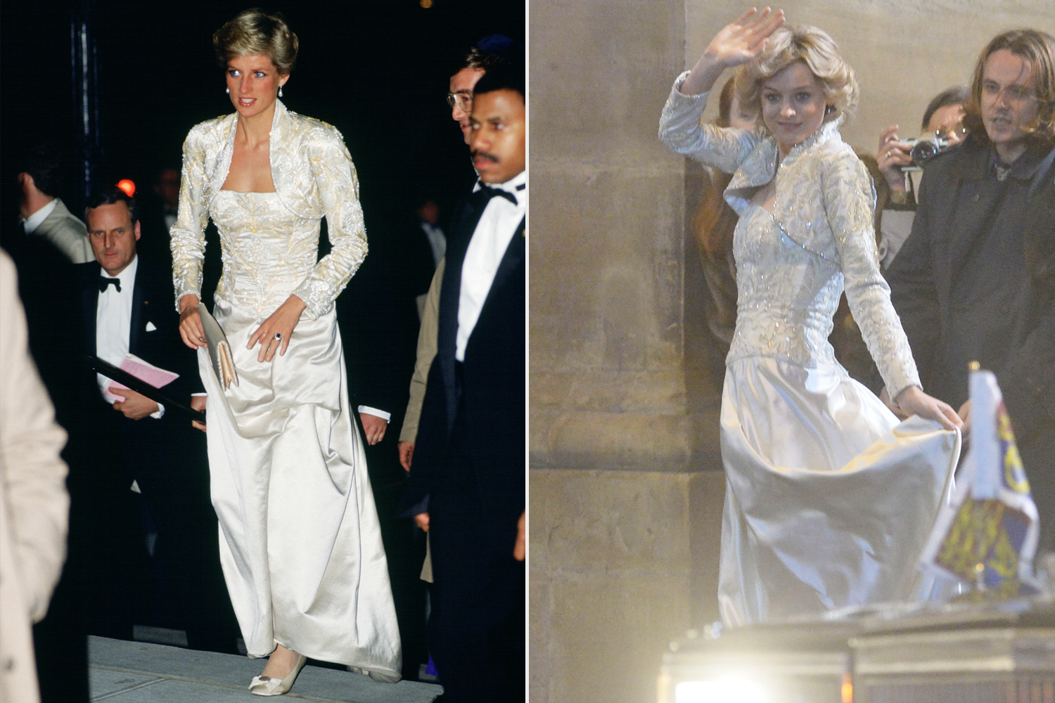 Diana, Princess of Wales wears a dress designed by Victor Edelstein to the Brooklyn Academy of Music to see the Welsh National Opera Gala production of 'Falstaff Emma Corrin The Crown