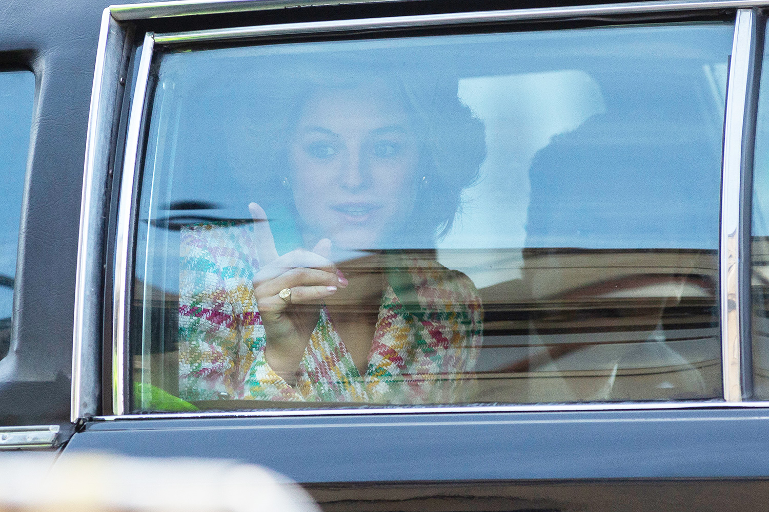Emma Crorrin, who is playing Princess Diana, arrives on set to start the filming of The Netflix hit show, The Crown