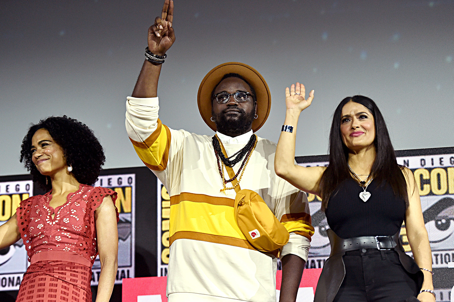 Lauren Ridloff, Brian Tyree Henry and Salma Hayek of Marvel Studios' 'The Eternals' at the San Diego Comic-Con International 2019 Marvel Studios Panel in Hall H on July 20, 2019 in San Diego, California