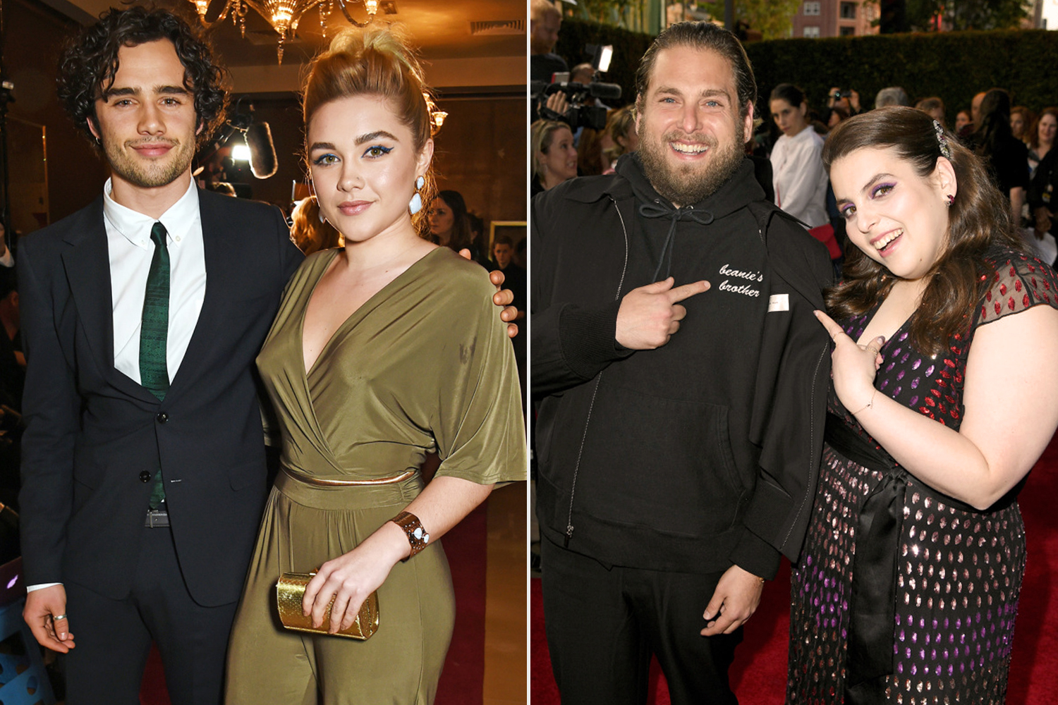 Toby Sebastian and Florence Pugh & Jonah Hill and Beanie Feldstein
