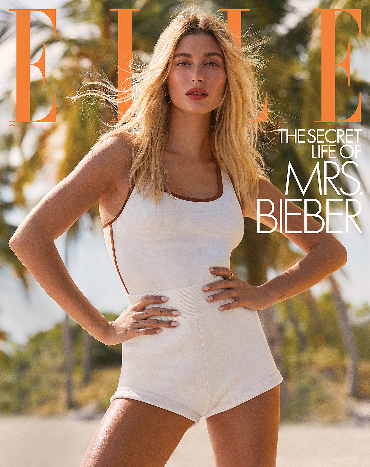 Hailey Bieber covers the March issue of ELLE