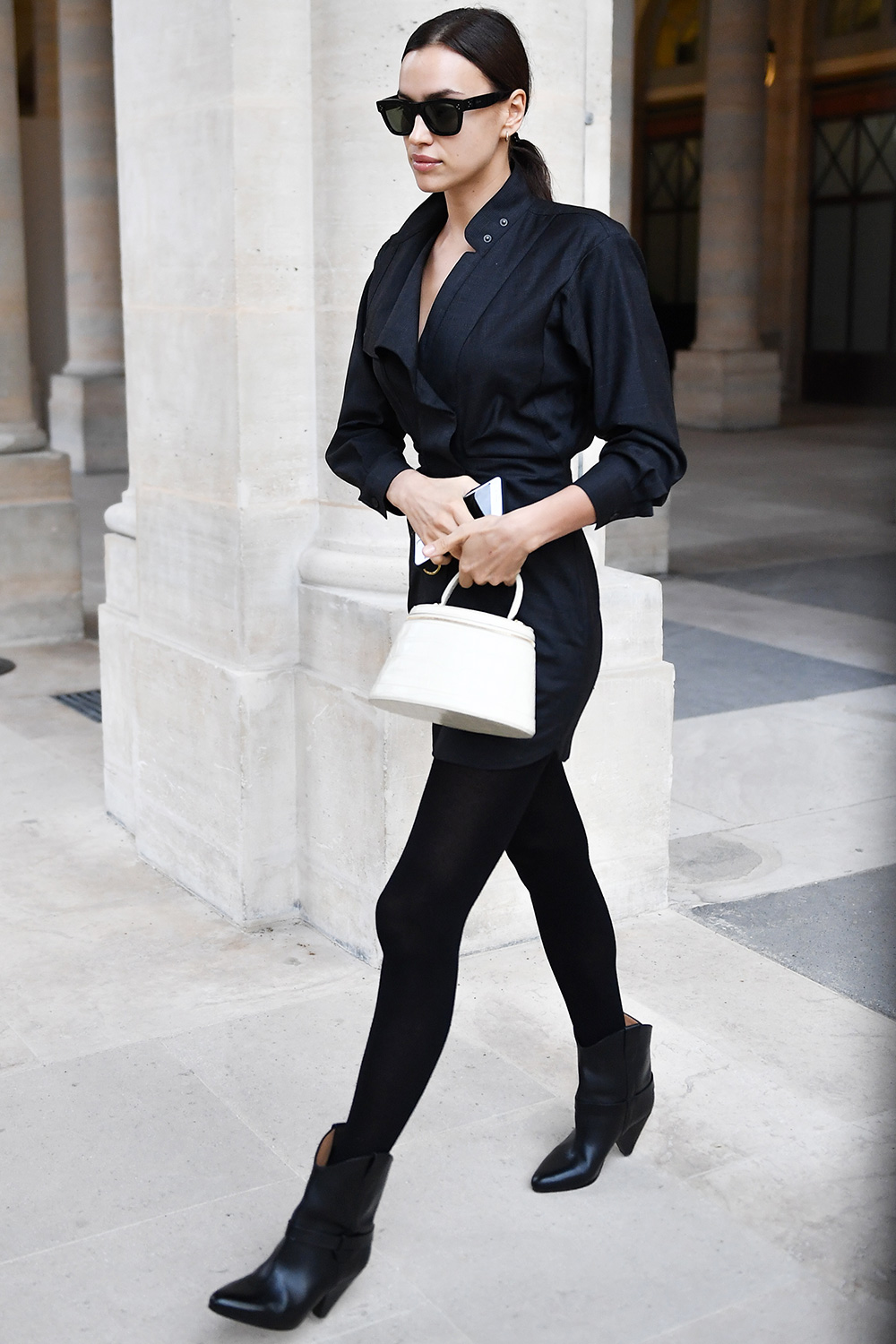 Irina Shayk attends the Isabel Marant show as part of the Paris Fashion Week Womenswear Fall/Winter 2020/2021 on February 27, 2020 in Paris, France