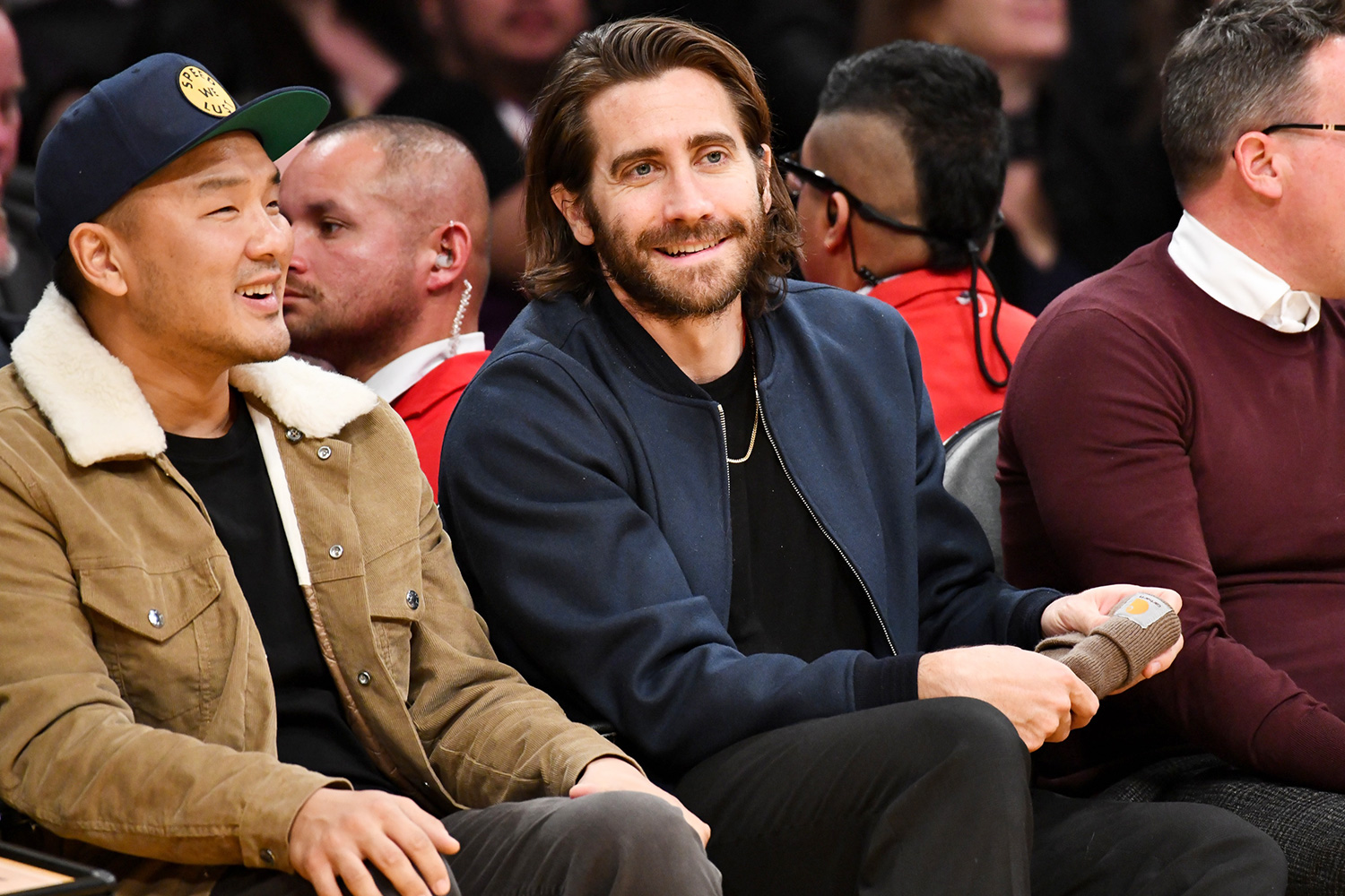 Jake Gyllenhaal attends a basketball game between the Los Angeles Lakers and the San Antonio Spurs at Staples Center on February 04, 2020 in Los Angeles, California