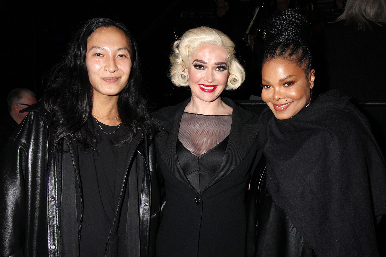 "Alexander Wang, Erika Jayne and Janet Jackson pose backstage at the hit musical ""Chicago"" on Broadway at The Ambassador Theatre on February 11, 2020 in New York City"