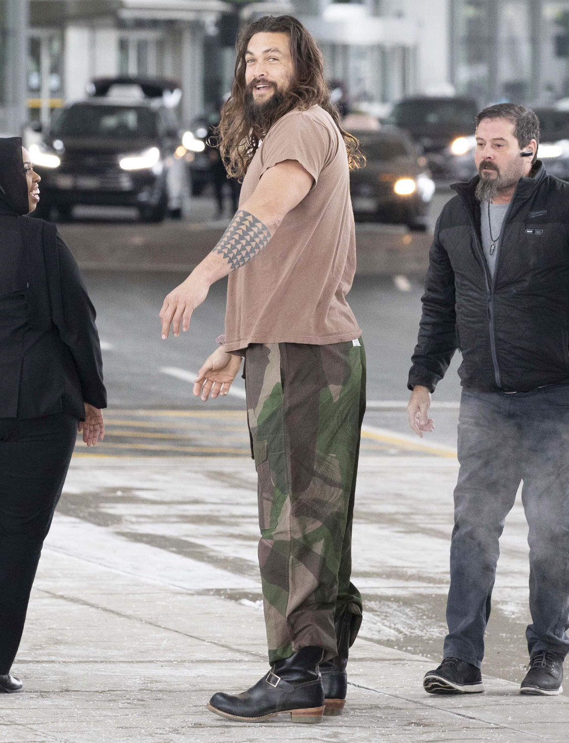 Jason Momoa star of Aquaman and Game of Thrones spotted arriving in Toronto to begin working on the second season of the TV series 'See