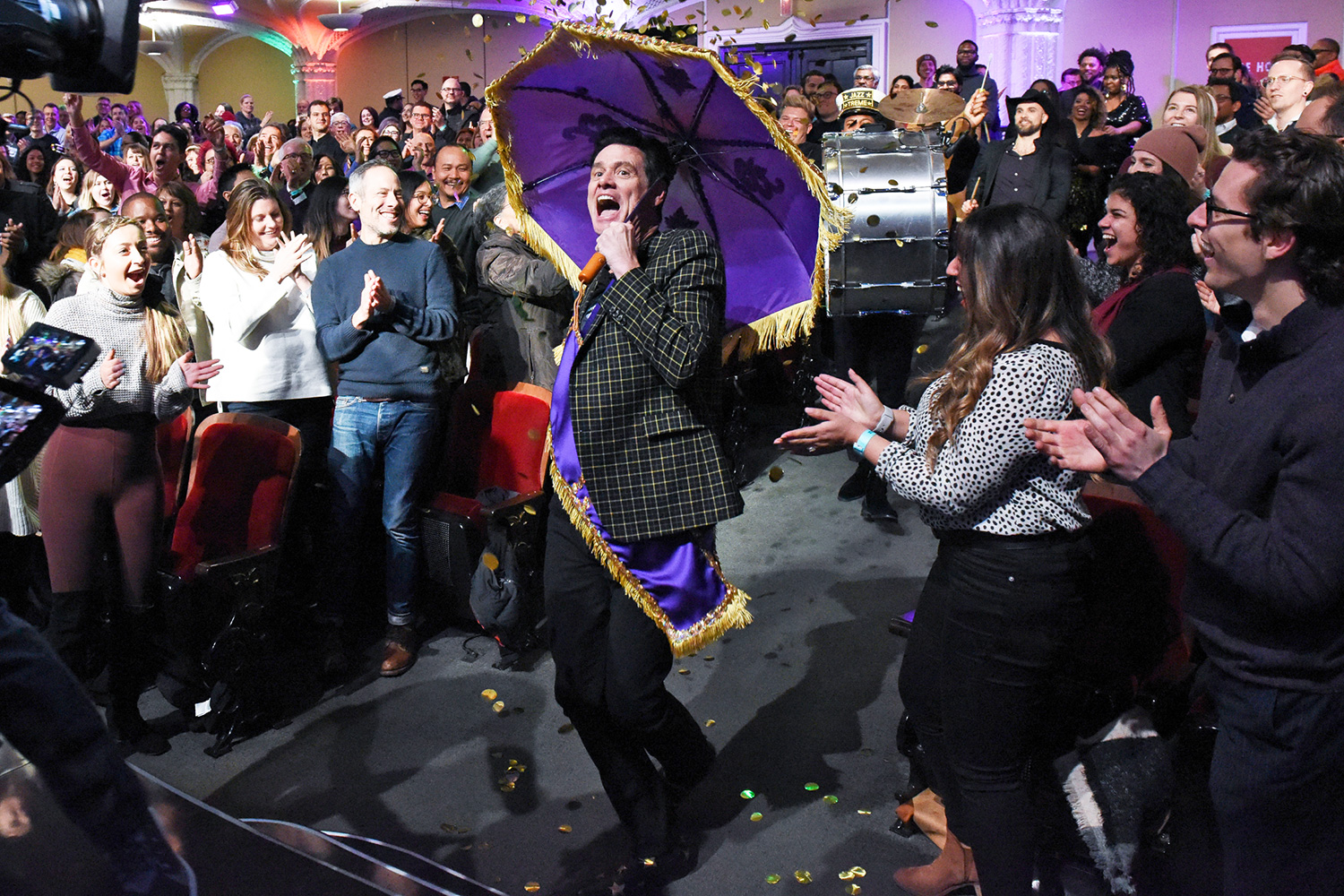 The Late Show with Stephen Colbert and guest Jim Carrey during Wednesday's February 5, 2020 show.