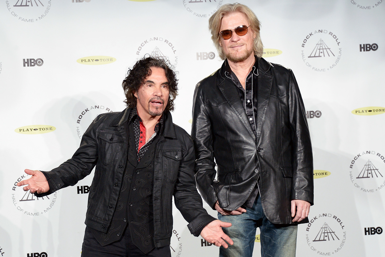 John Oates (L) and Daryl Hall of Hall and Oates attend the 29th Annual Rock And Roll Hall Of Fame Induction Ceremony at Barclays Center of Brooklyn on April 10, 2014 in New York City