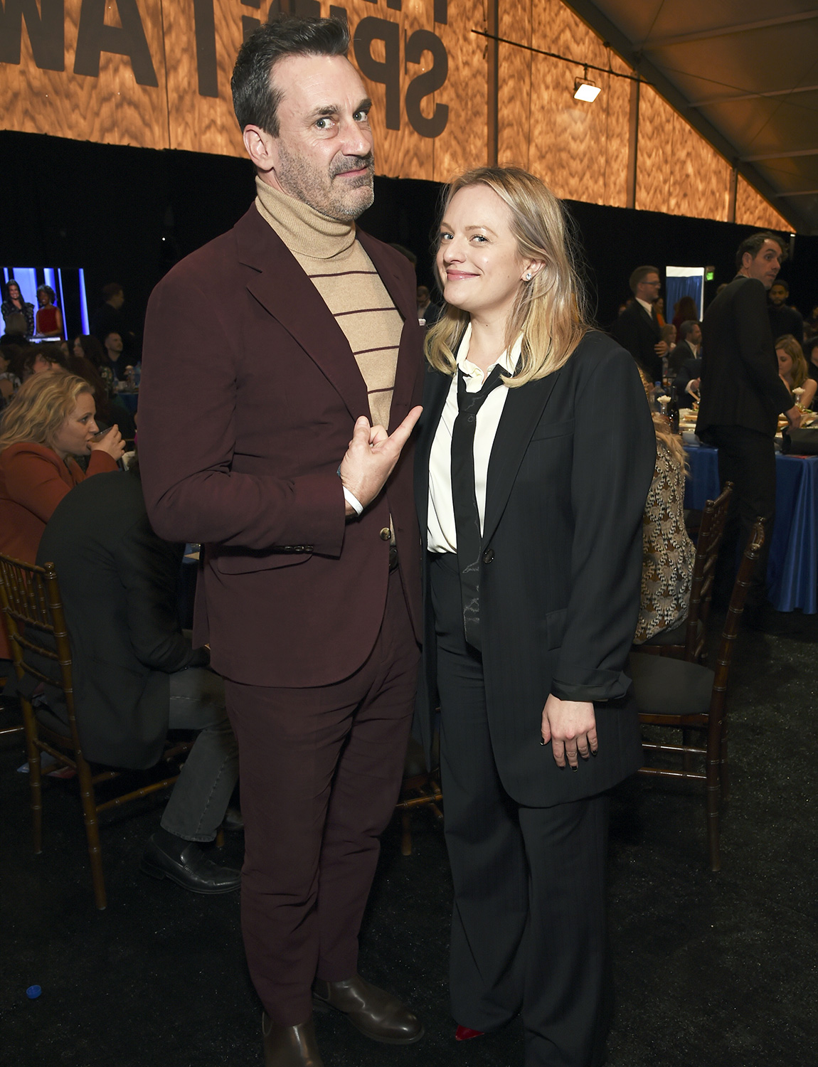 Jon Hamm (L) and Elisabeth Moss attend the 2020 Film Independent Spirit Awards on February 08, 2020 in Santa Monica, California.