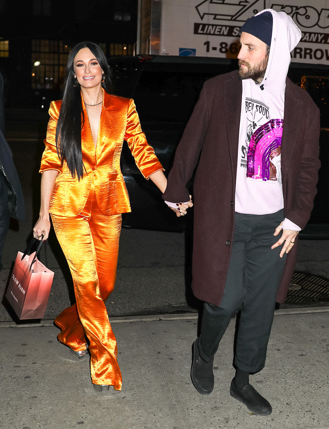 Kacey Musgraves and Ruston Kelly are seen on February 05, 2020 in New York City