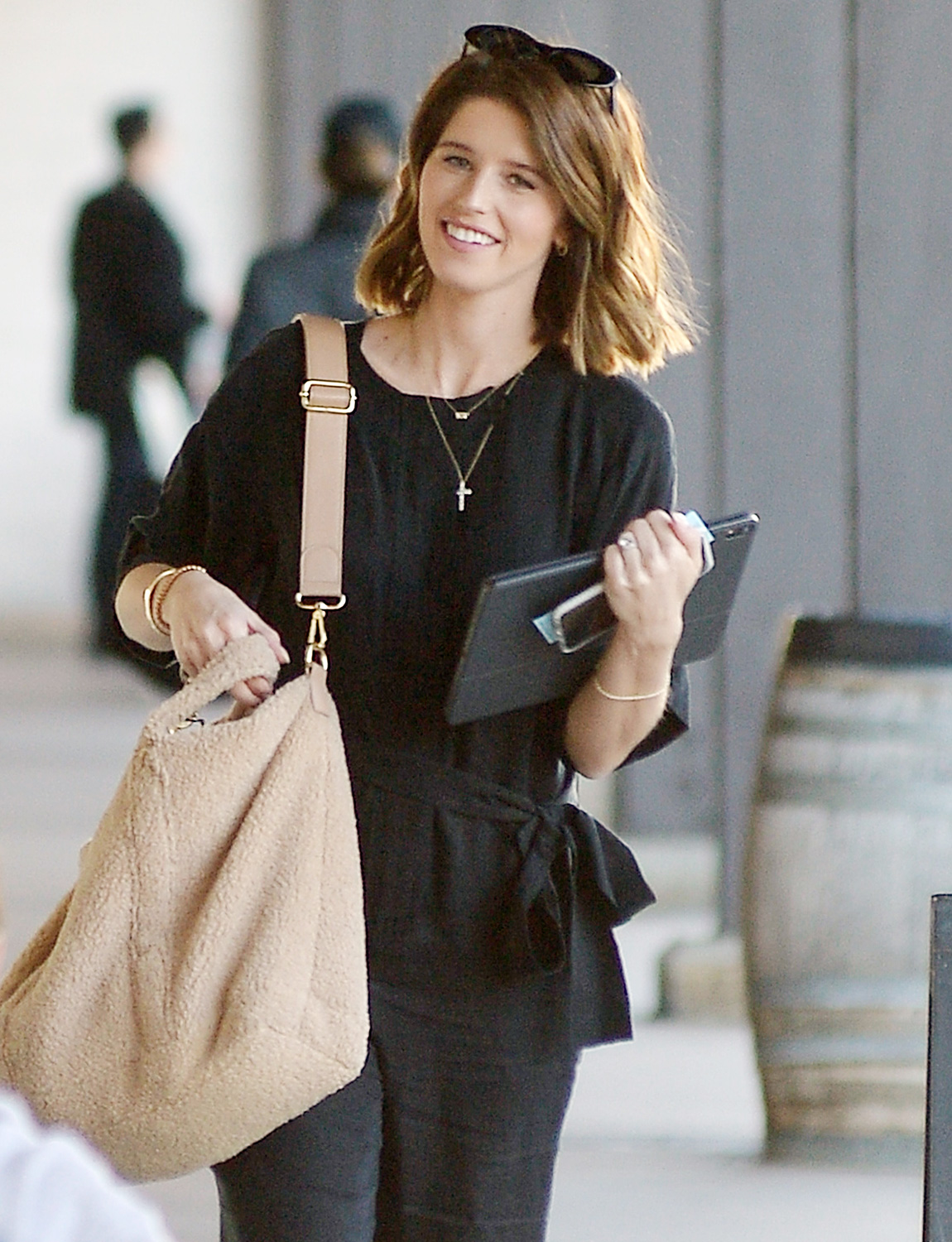 Katherine Schwarzenegger is all smiles as she heads to a business meeting in Los Angeles