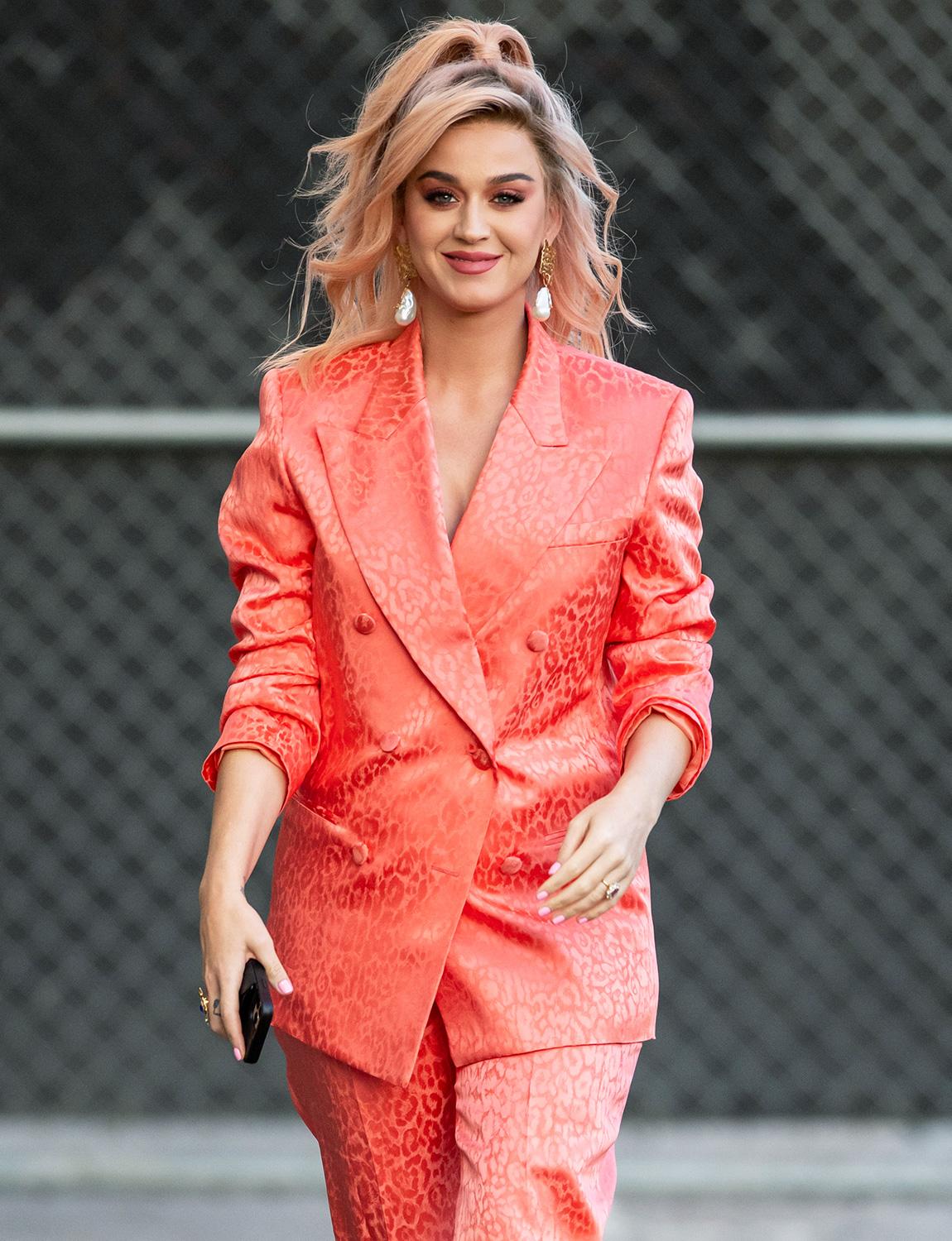 Katy Perry is seen at 'Jimmy Kimmel Live' on February 12, 2020 in Los Angeles, California