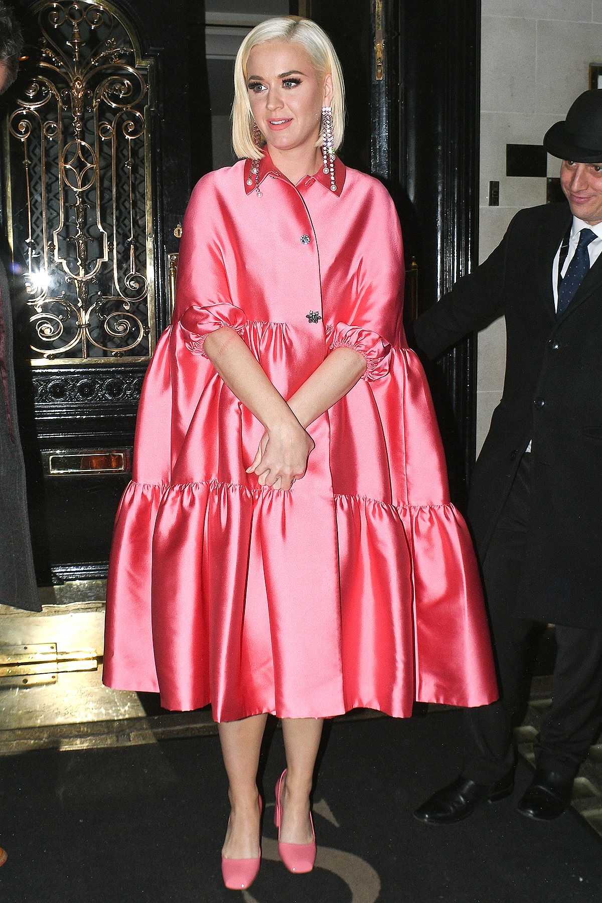 Katy Perry seen leaving Scott's restaurant in Mayfair on February 03, 2020 in London, England.