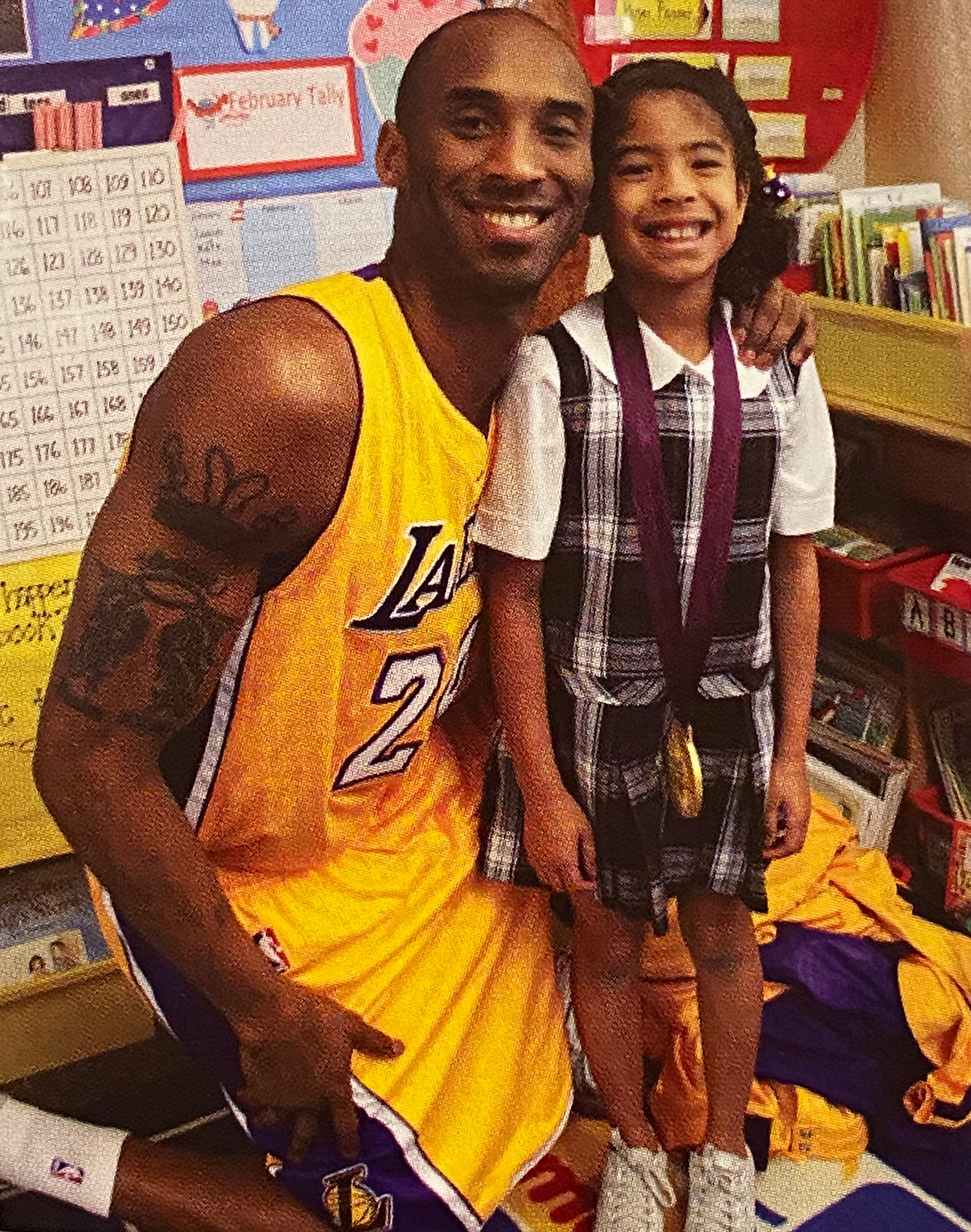 Kobe Bryant Dressed in Full Lakers Uniform for Career Day at Gianna's School