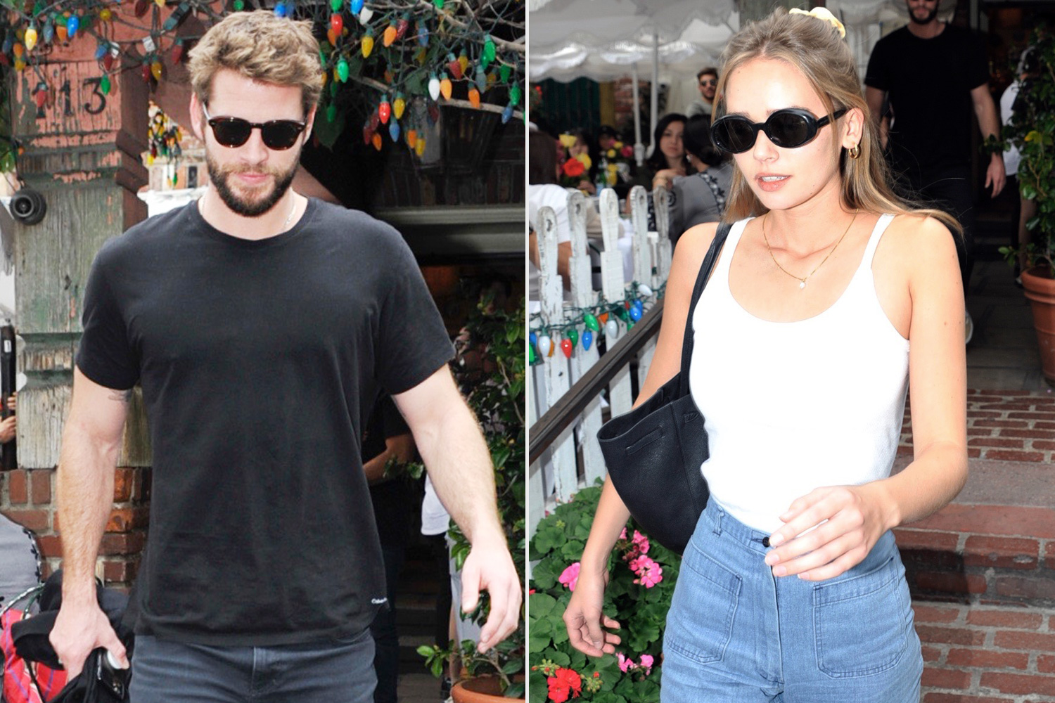 Liam Hemsworth pictured with girlfriend Gabriella Brooks as they eat out at The Ivy in West Hollywood, CA, USA