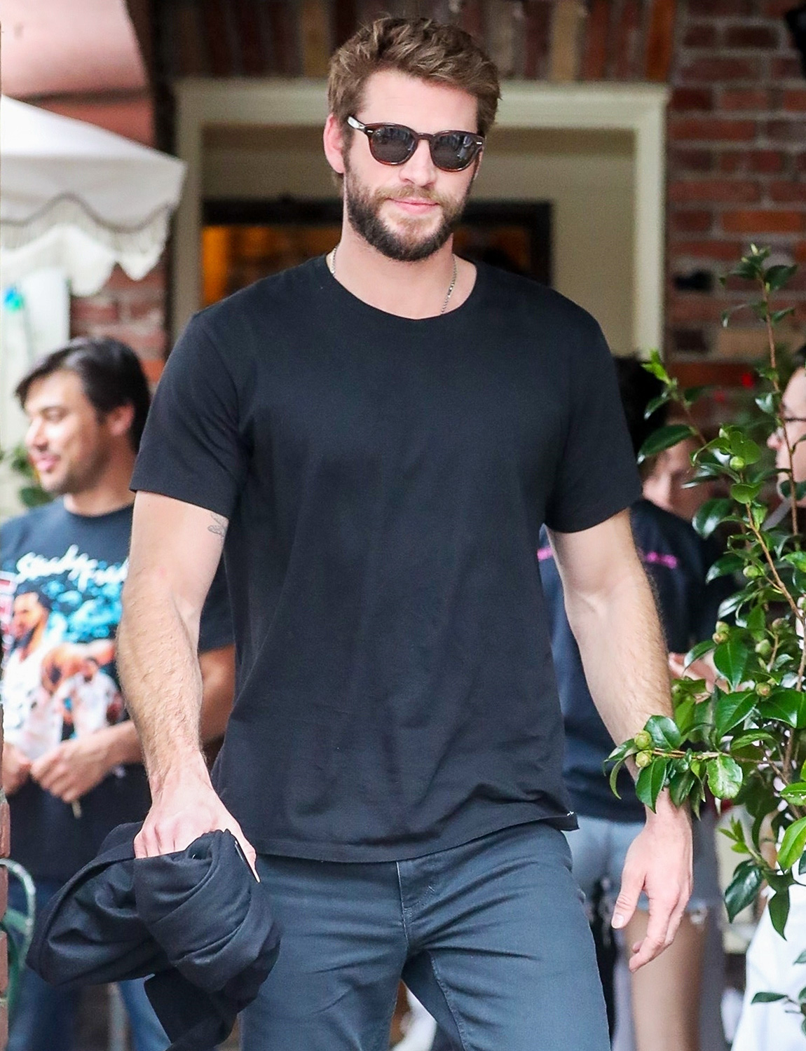 Liam Hemsworth is out for lunch with his brother Luke, model girlfriend Gabriella Brooks, and their friends