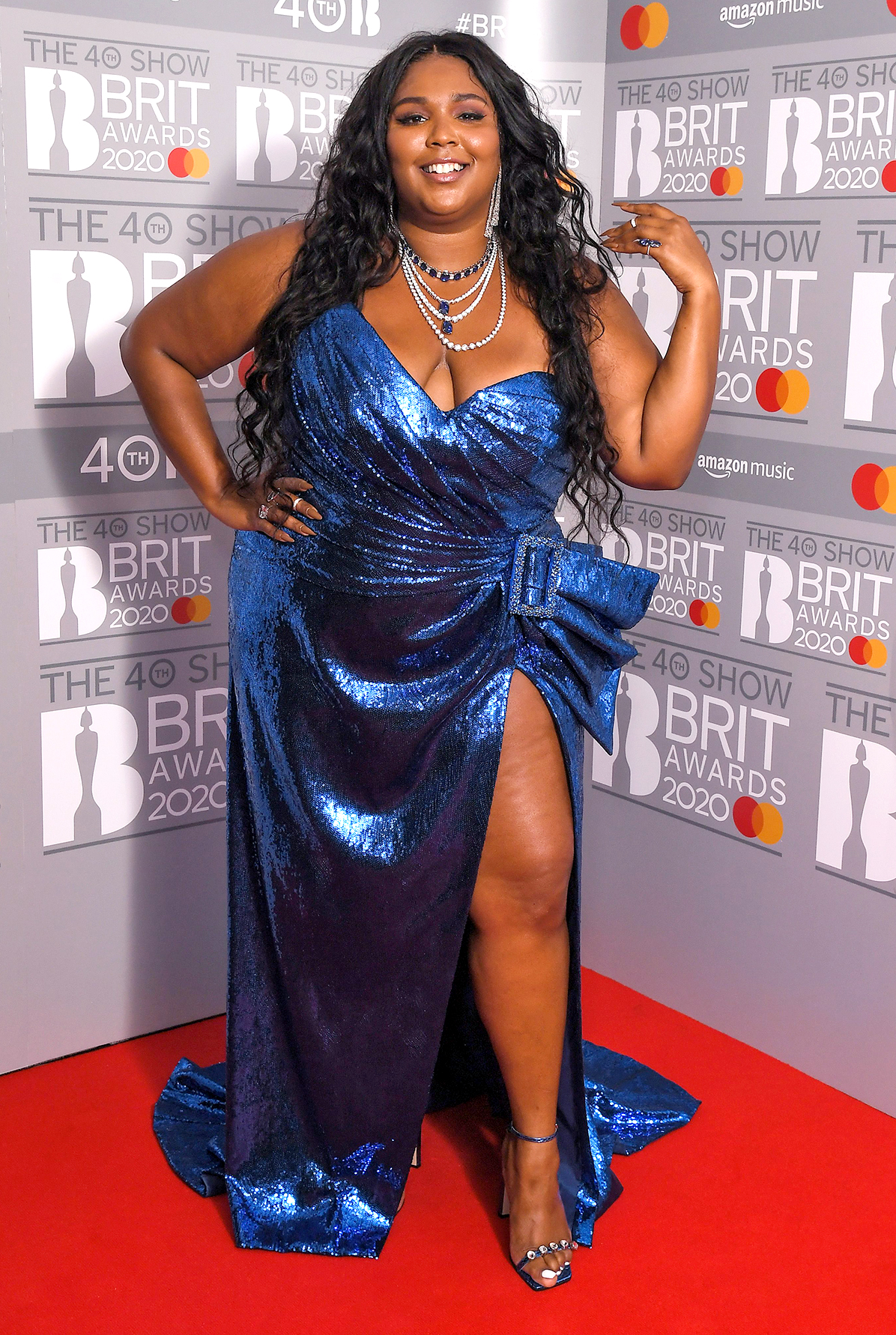 Lizzo 40th Brit Awards, Press Room, The O2 Arena, London, UK - 18 Feb 2020 Wearing Dundas, Custom