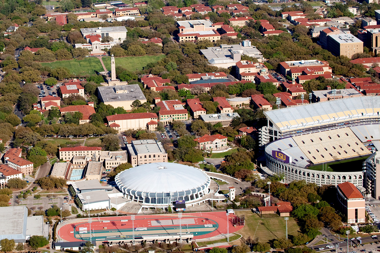 Aerial of The Louisiana State University Campus with University Lake in the background, Baton Rouge, Louisiana
