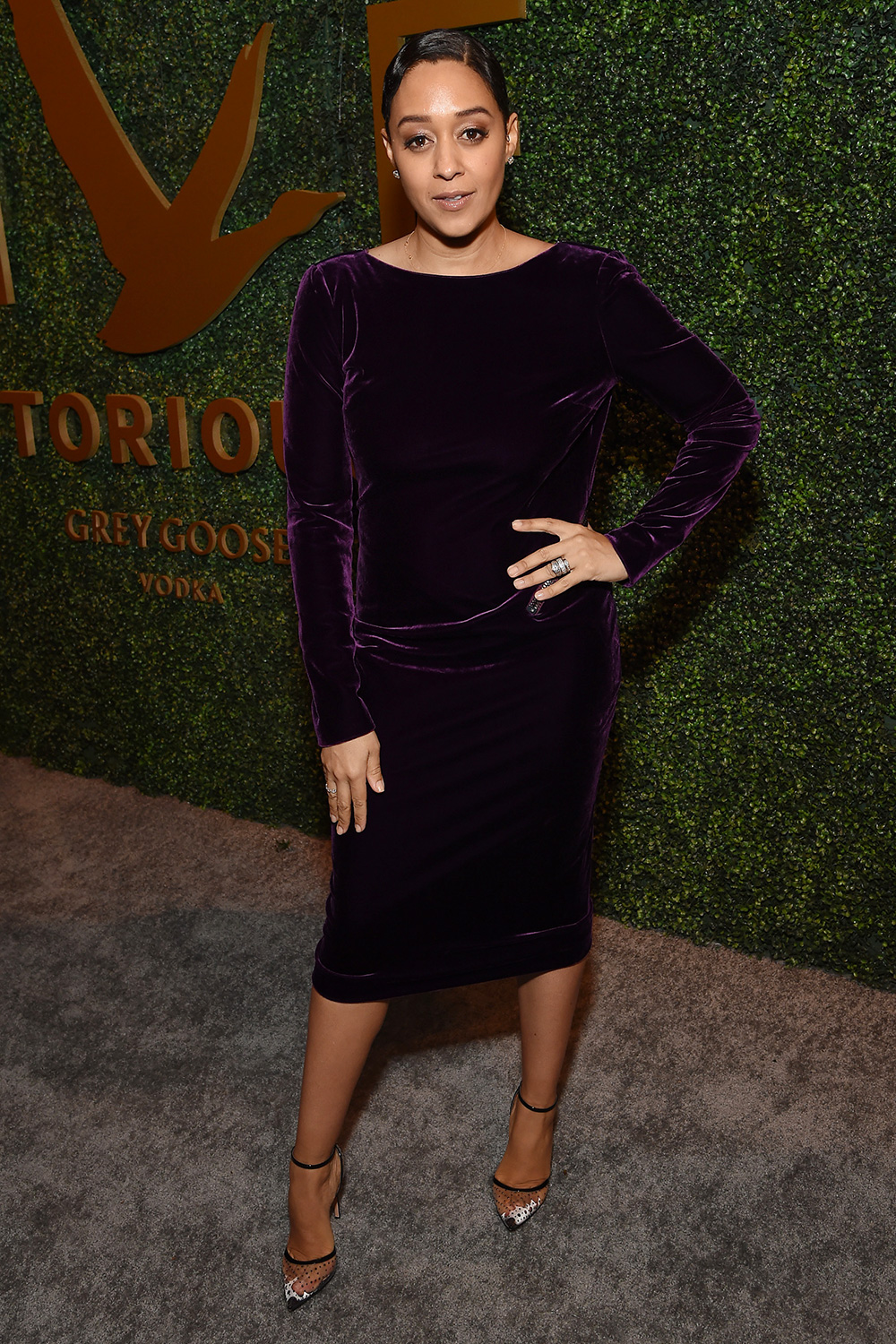 Tia Mowry attends Grey Goose Toasts To A Year Of Victorious Filmmaking at The MACRO Pre-Oscars Party at Fig & Olive on February 06, 2020 in West Hollywood, California